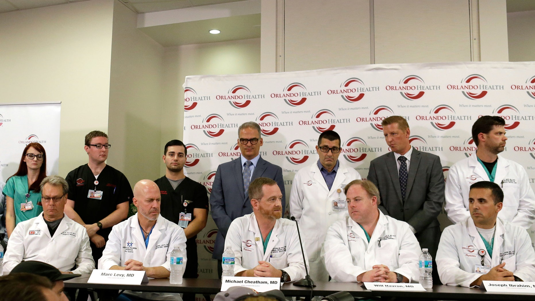 June 14, 2016: Doctors and medical staff that treated the victims of the Pulse nightclub shooting answer questions at a news conference at the Orlando Regional Medical Center.