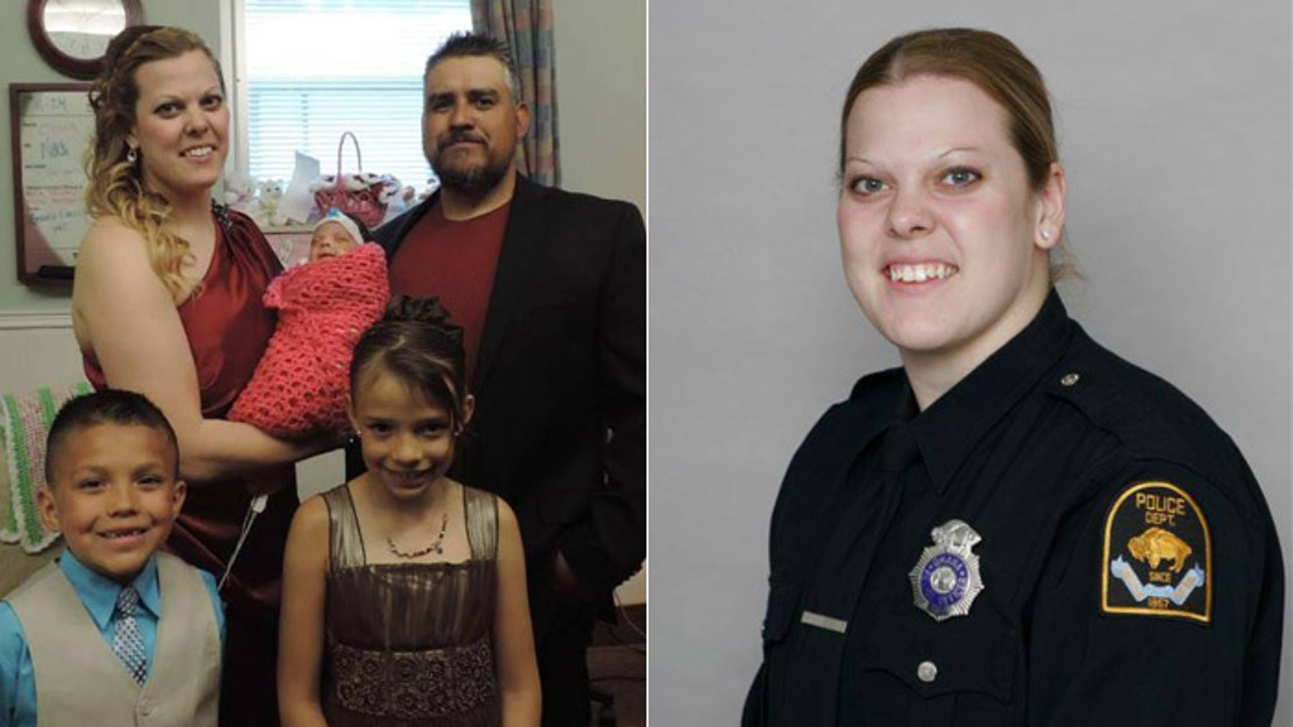 Omaha Police Officer Kerrie Orozco, shown holding little Olivia Ruth and pictured with husband Hector and her two stepchildren. (Omaha Police Department)