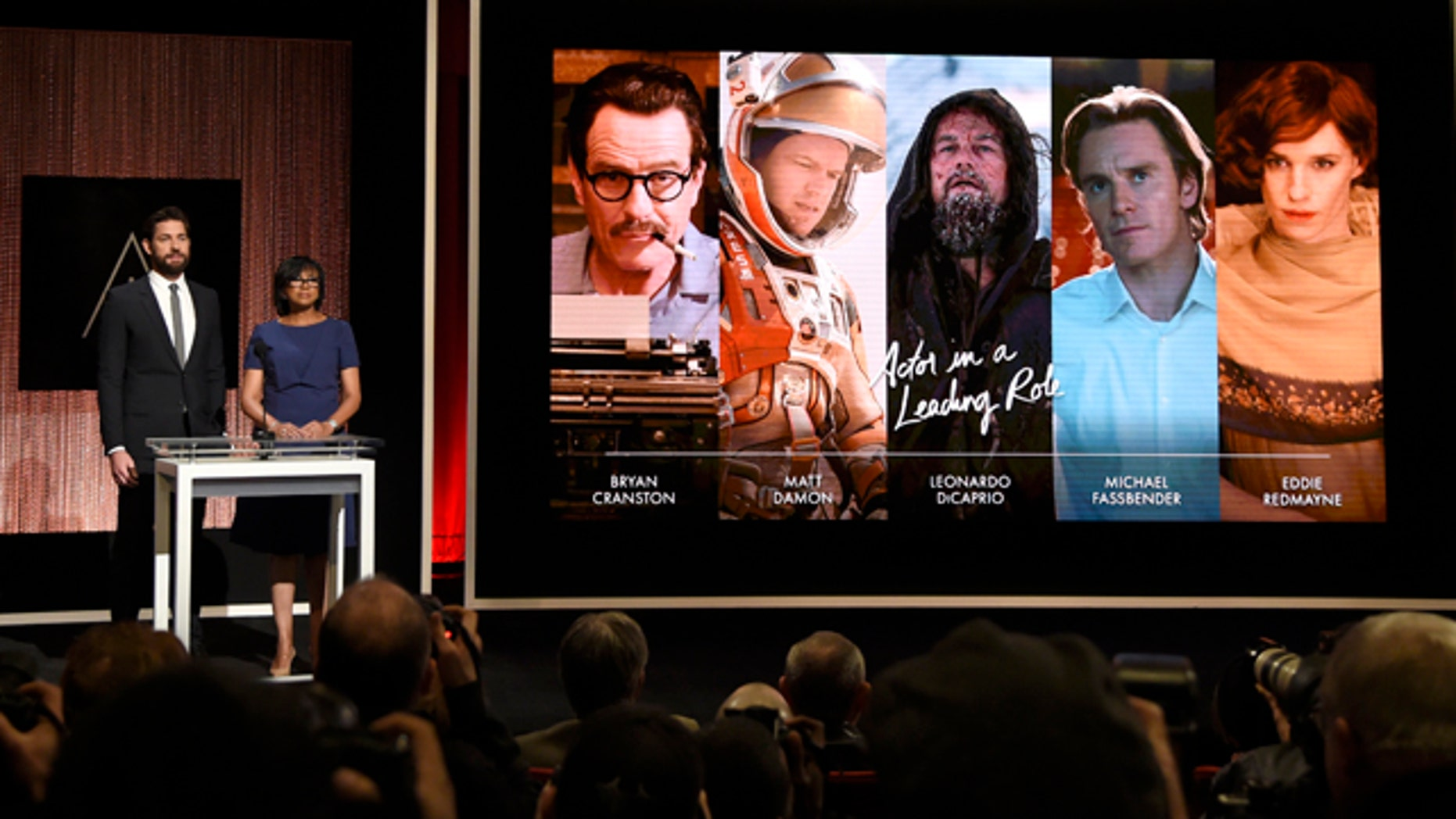 Jan. 14, 2016. John Krasinski, left, and Academy President Cheryl Boone Isaacs announce the Academy Awards nominations for best performance by an actor in a leading role at the 88th Academy Awards nomination ceremony in Beverly Hills, Calif.