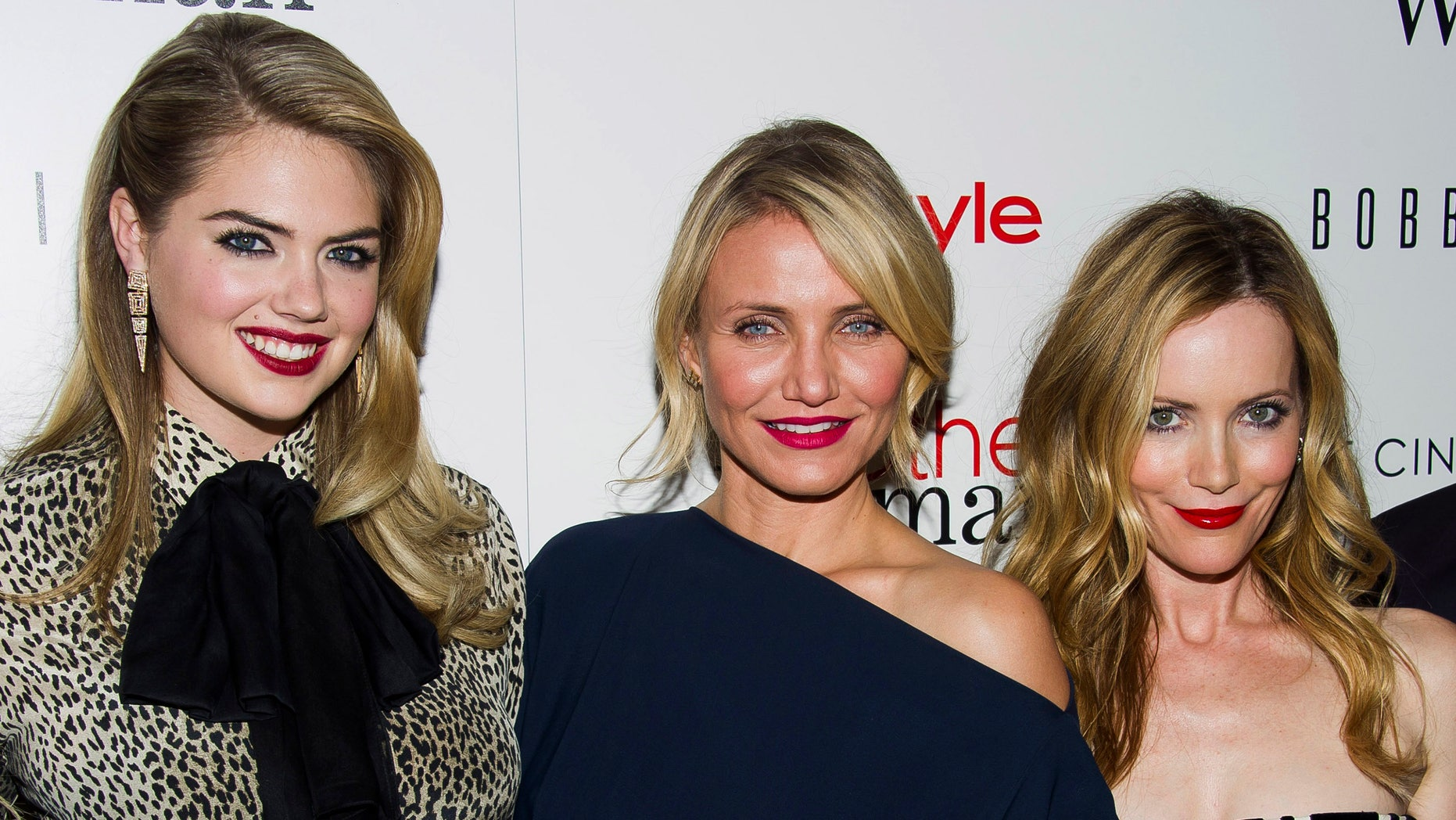 """April 24, 2014. Kate Upton, from left, Cameron Diaz and Leslie Mann attend the premiere of """"The Other Woman"""" hosted by The Cinema Society and Bobbi Brown in New York."""