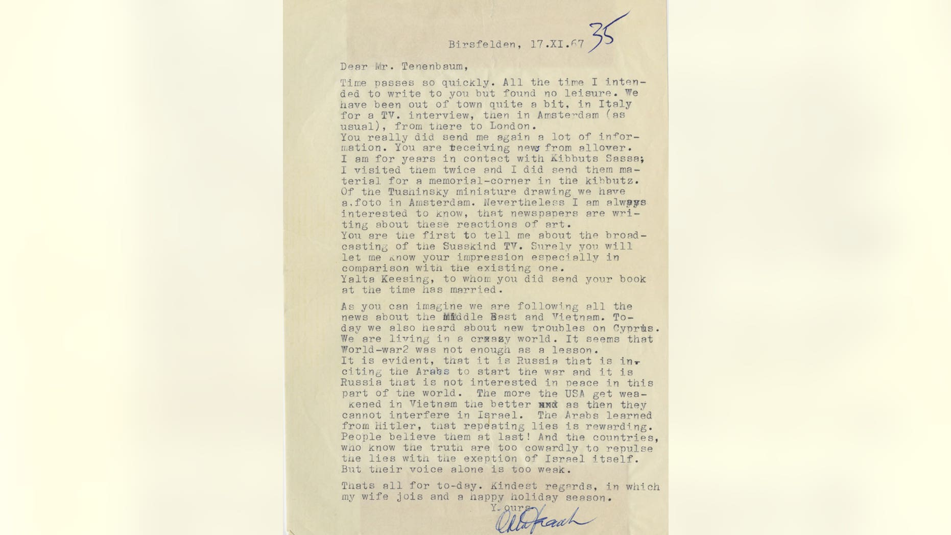 Otto Frank's letter on anti-Semitism.