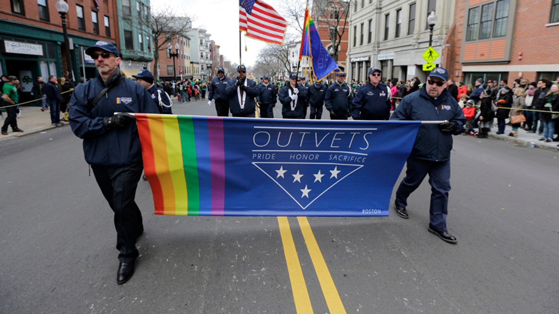 In this March 20, 2016 file photo, members of OutVets, a group of gay military veterans, march in the annual St. Patrick's Day Parade in Boston's South Boston neighborhood. The group said Wednesday, March 8, 2017, it was denied permission to march in the 2017 Boston St. Patrick's Day parade just two years after organizers made the ground-breaking decision to allow gay groups to participate for the first time.