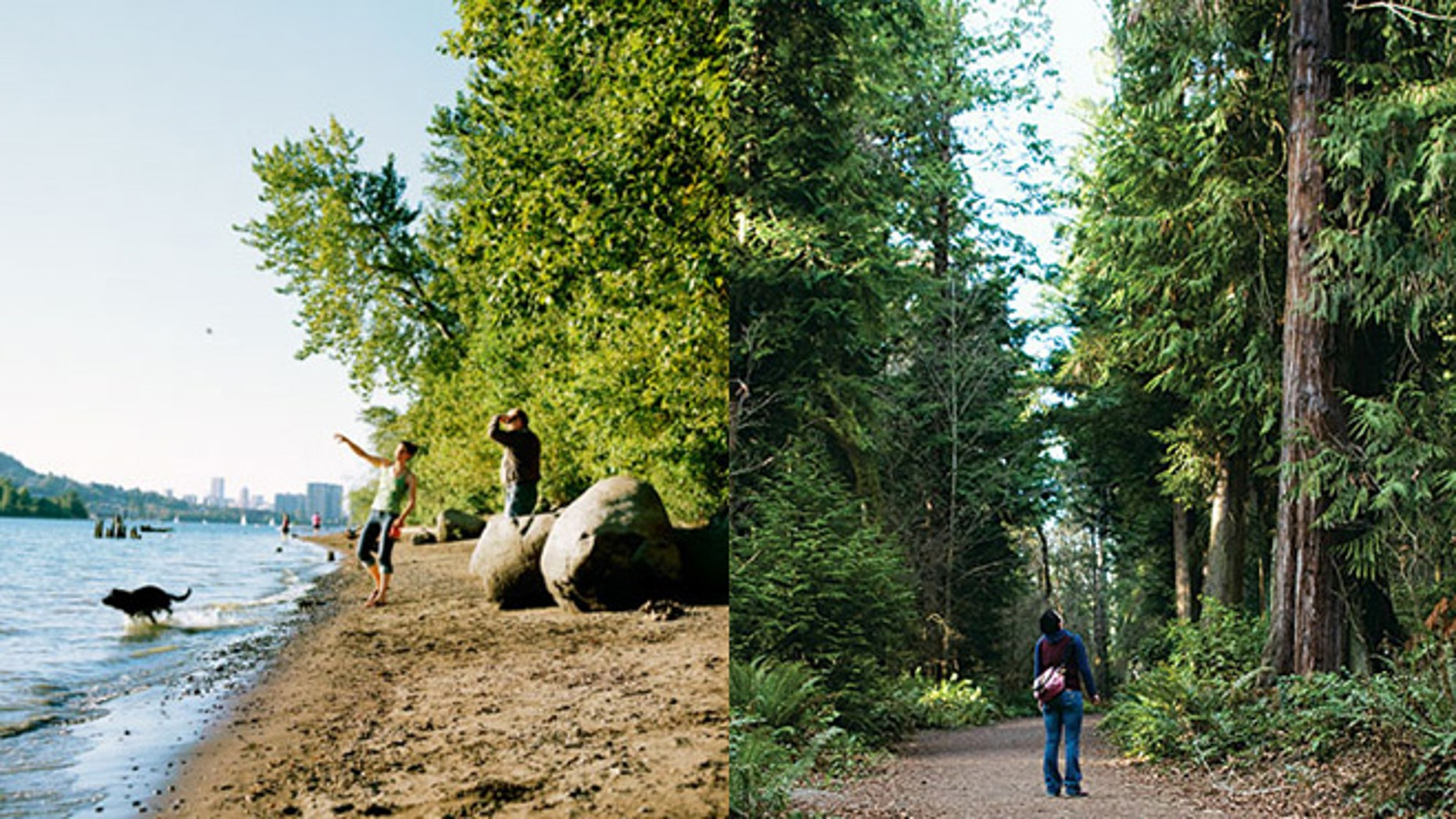Sellwood Riverfront Park in Portland, Ore. (left) and Seward Park in Seattle
