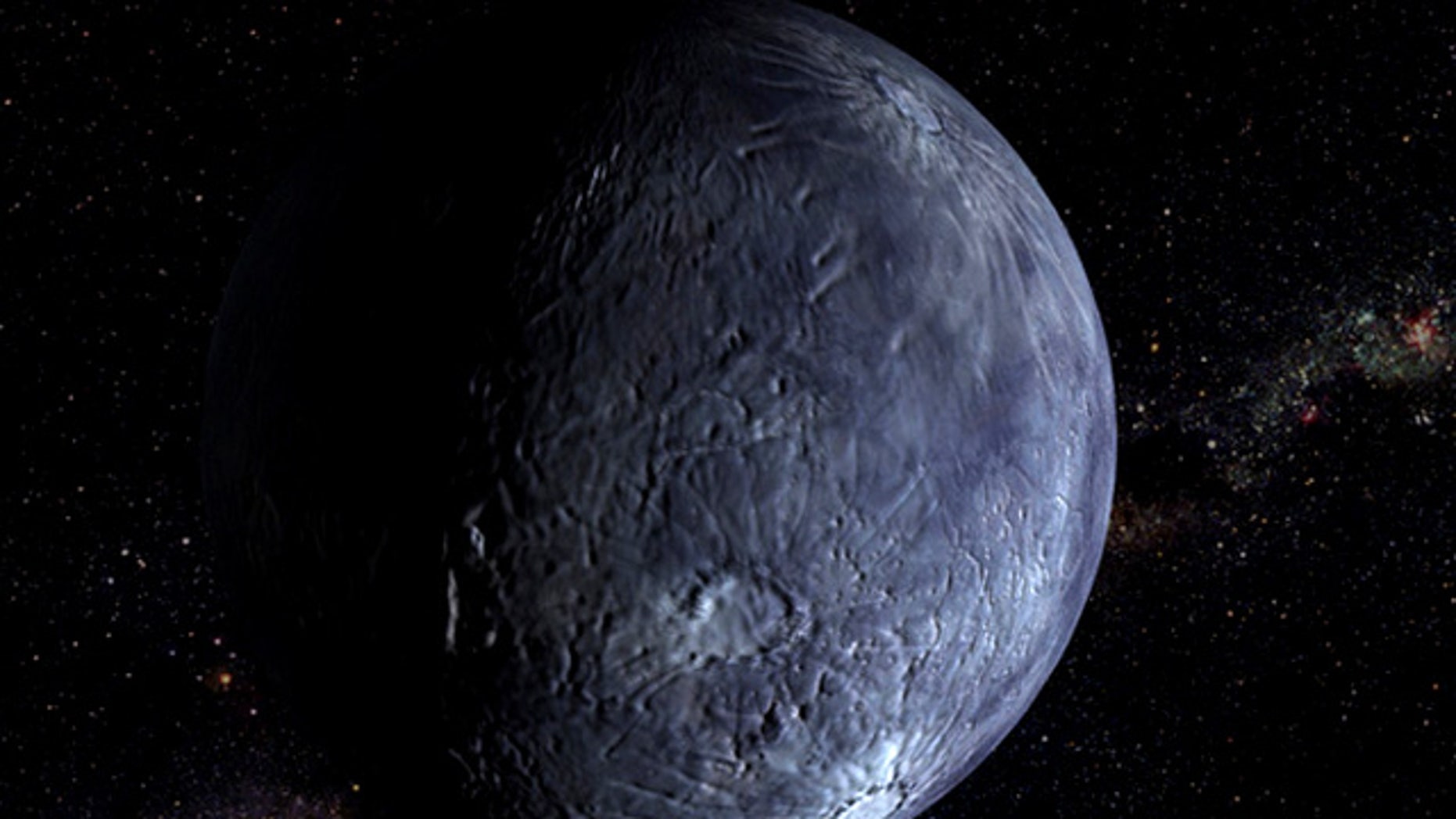 An illustration of Quaoar, another mystery of the outer solar system.
