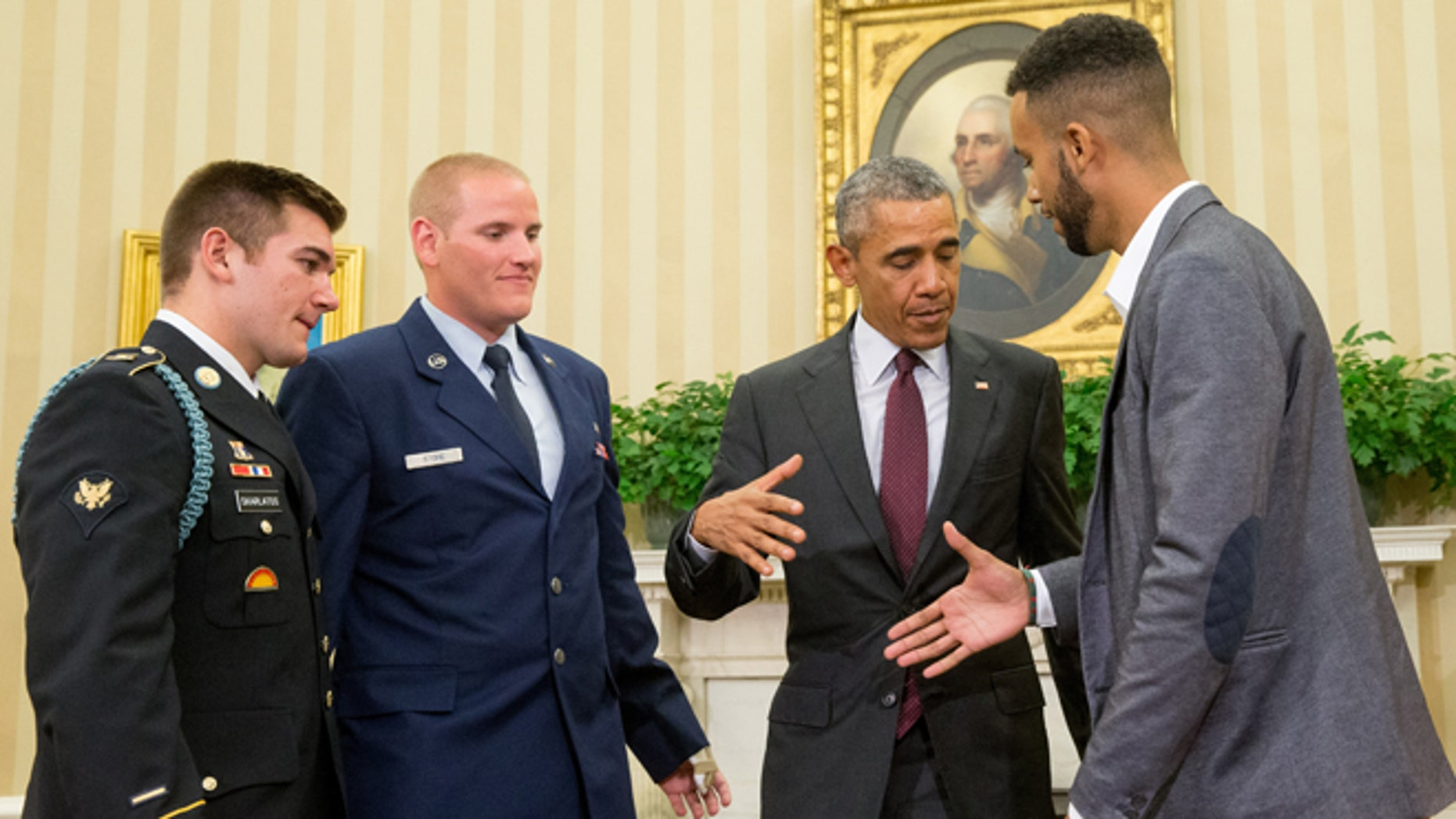 Sept. 17, 2015: President Obama meets with, from left, Oregon National Guardsman Alek Skarlatos, Air Force Airman 1st Class Spencer Stone, and Anthony Sadler, in the Oval Office of the White House in Washington.