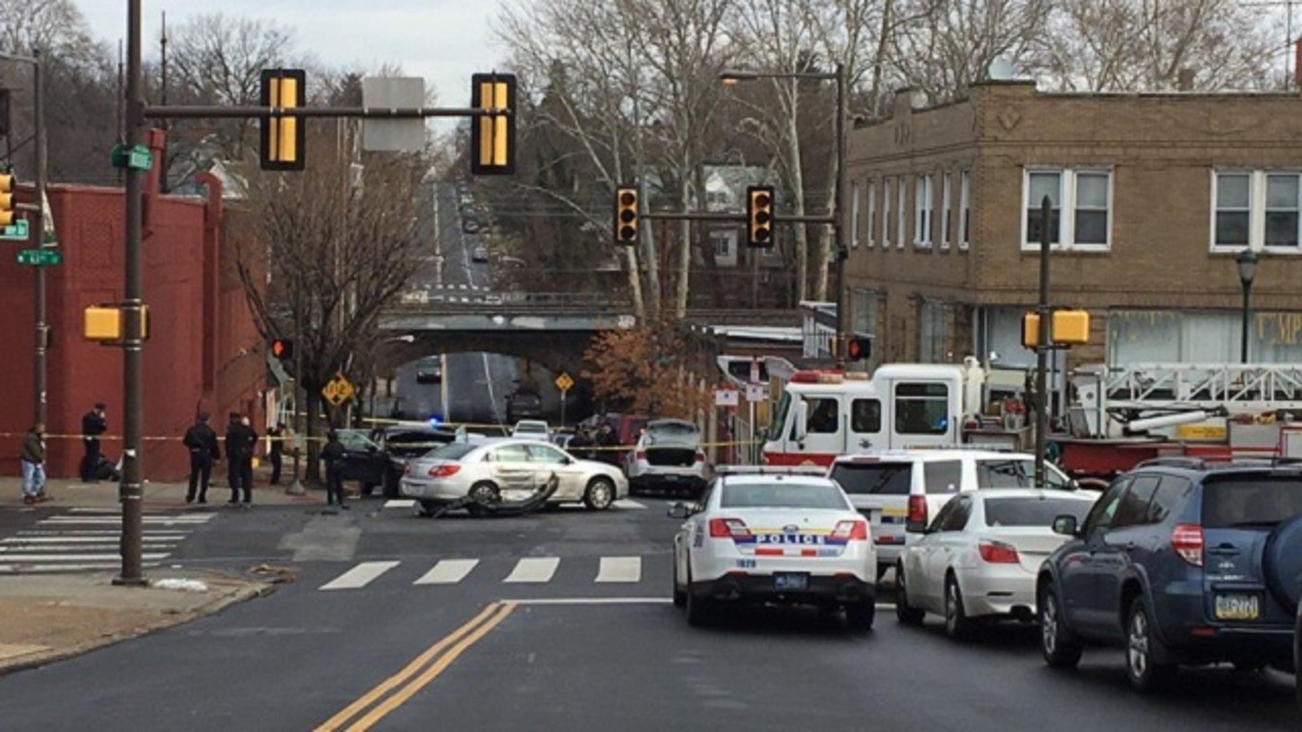 The scene of the crash in Philadelphia.
