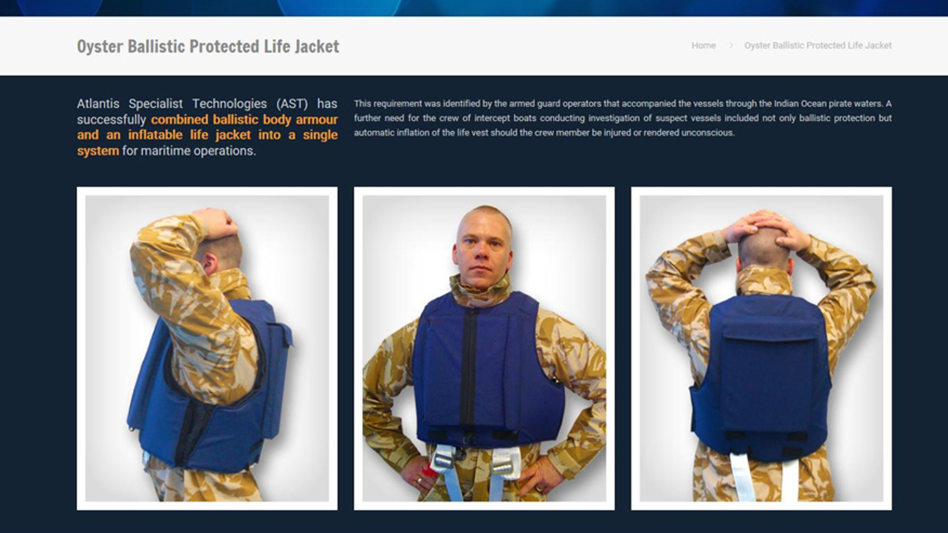 (Oyster Ballistic Projected Life Jacket screenshot from http://atlantiscorp.co.za)