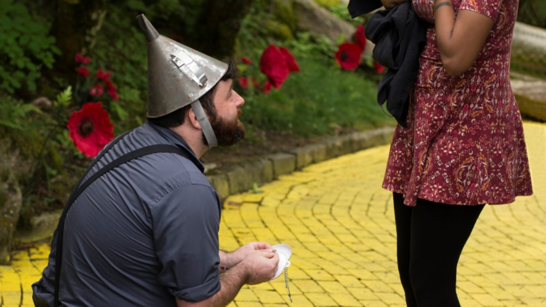 """A """"Wizard of Oz""""-inspired marriage proposal was captured on camera last week."""