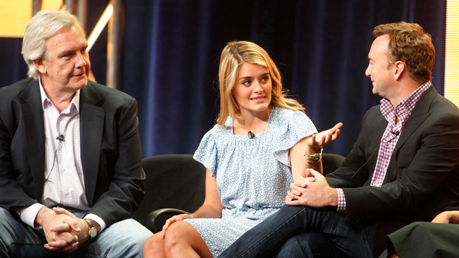 """Hosts of new daytime show """"The Chew"""" Daphne Oz and Clinton Kelly (R) take part in a panel session with executive producer Gordon Elliott (L) at the ABC Summer TCA Press Tour in Beverly Hills, California August 7, 2011.  REUTERS/Fred Prouser    (UNITED STATES - Tags: ENTERTAINMENT) - RTR2PPF3"""