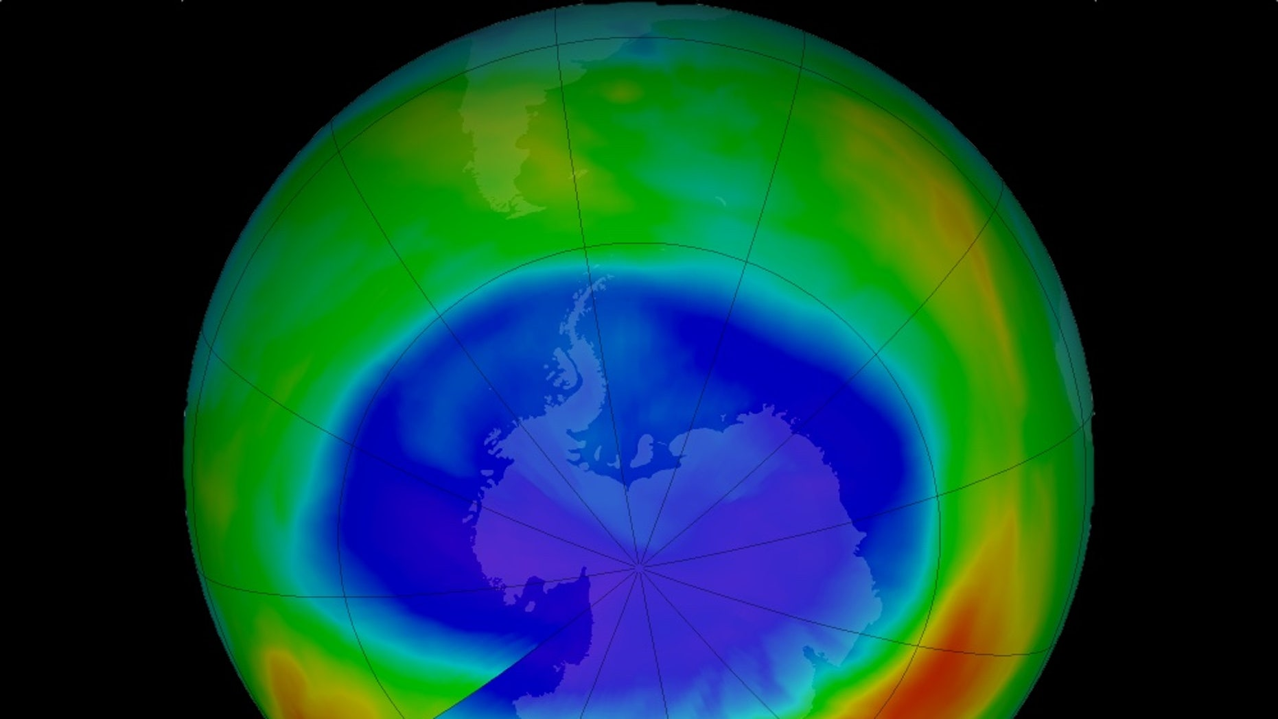 The ozone hole over Antarctica shrunk to its smallest maximum-extent in September 2017. Here, in this false-color view of the monthly-averaged total ozone the blue and purple indicate areas with the least ozone, while yellows and reds mean the most ozone.