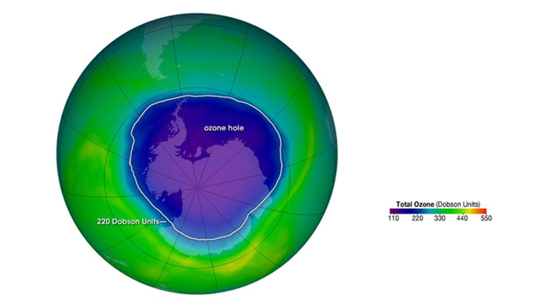 The ozone hole is the region over Antarctica with total ozone of 220 Dobson Units or lower. The data were acquired by the  Ozone Monitoring Instrument  on NASA's  Aura  satellite.
