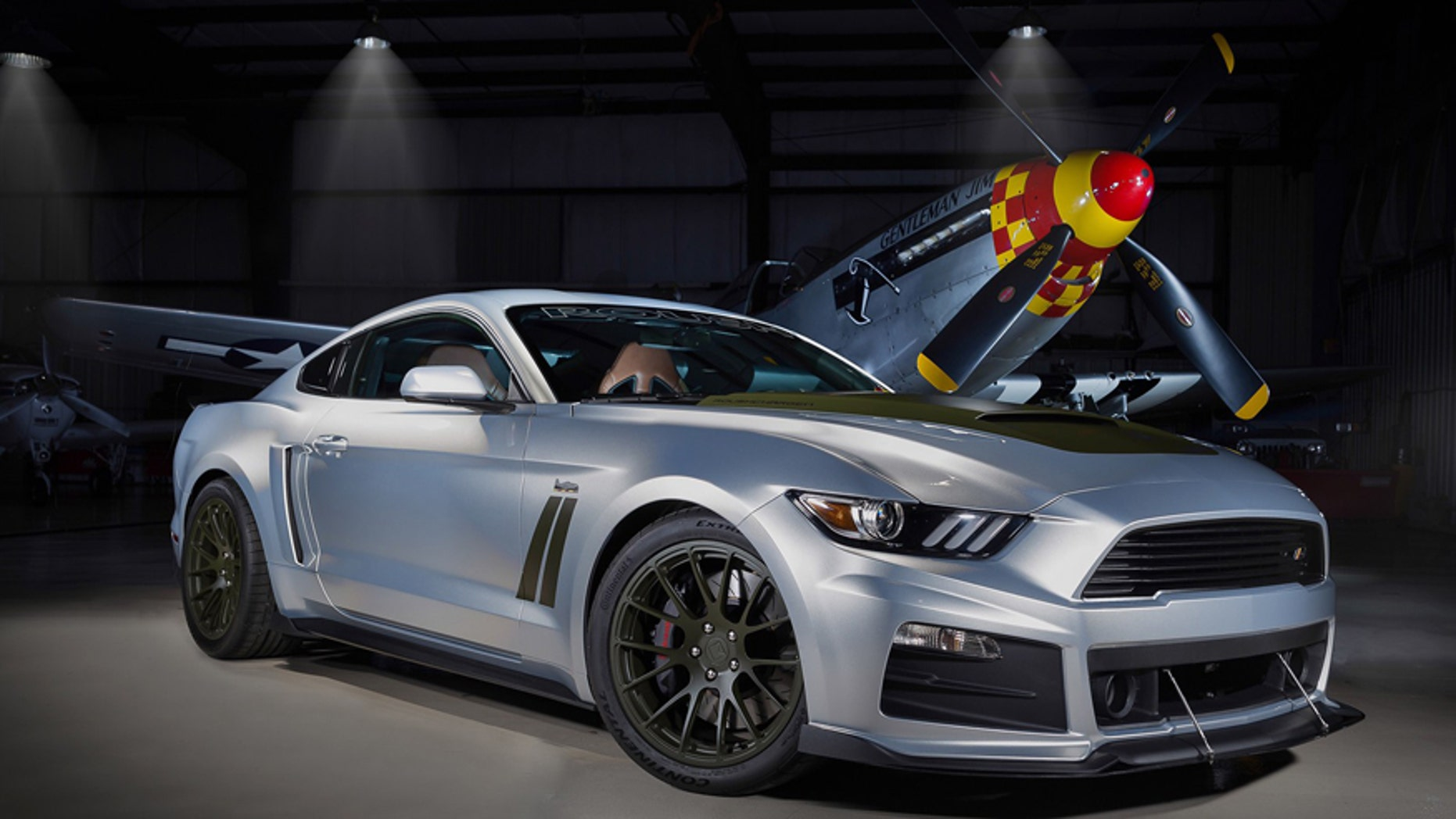 Roush P 51 Ford Mustang is ready for a dogfight with a Hellcat