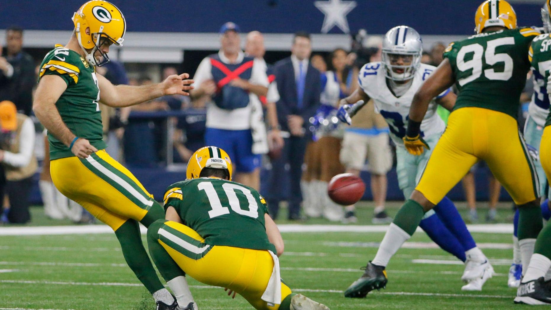Jan. 15, 2017: Green Bay Packers kicker Mason Crosby (2) kicks a 56-yard field goal against the Dallas Cowboys during the second half of an NFL divisional playoff football game in Arlington, Texas