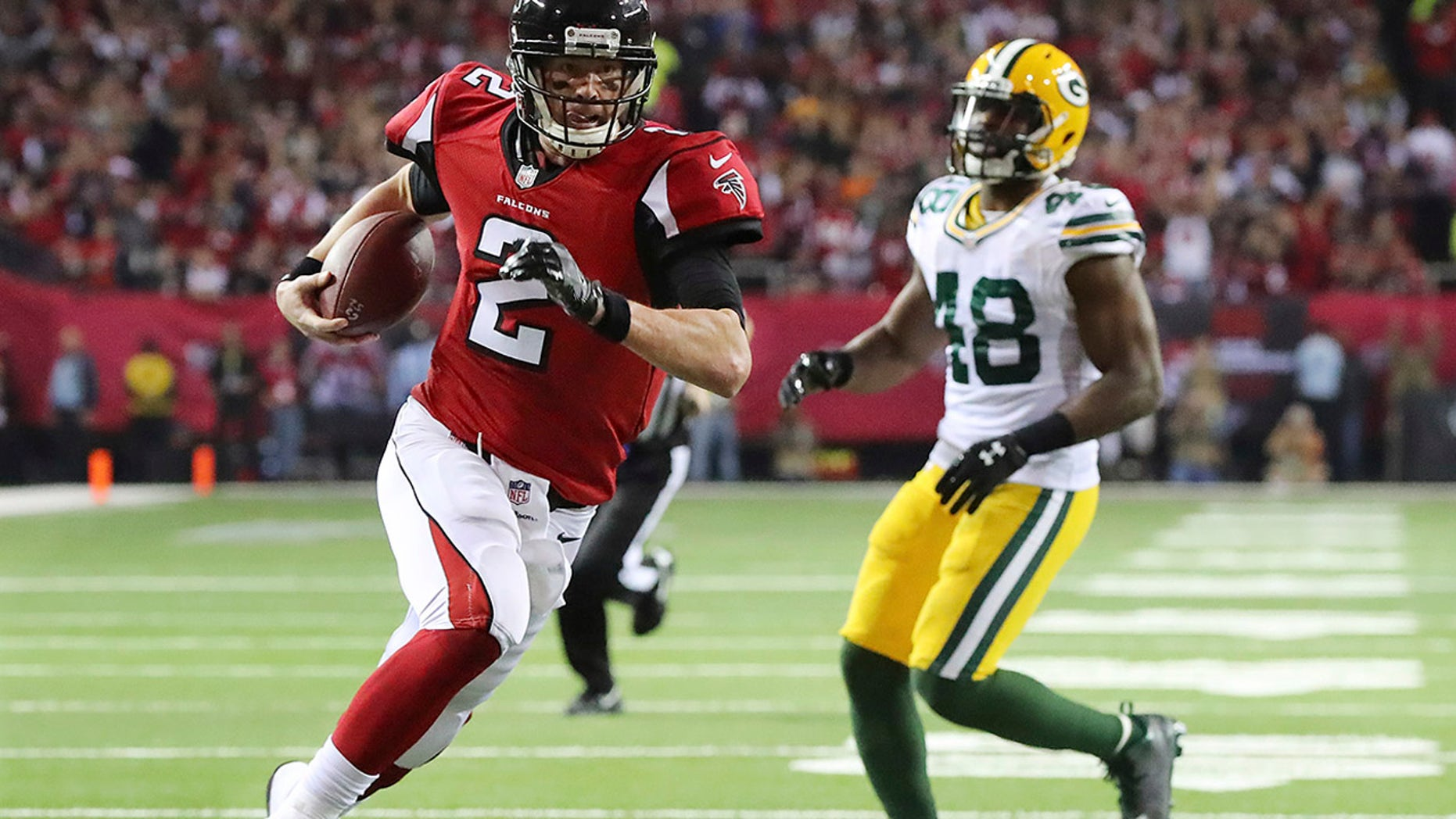 Jan. 22, 2017: Atlanta Falcons' Matt Ryan runs for a touchdown during the first half of the NFL football NFC championship game against the Green Bay Packers in Atlanta.