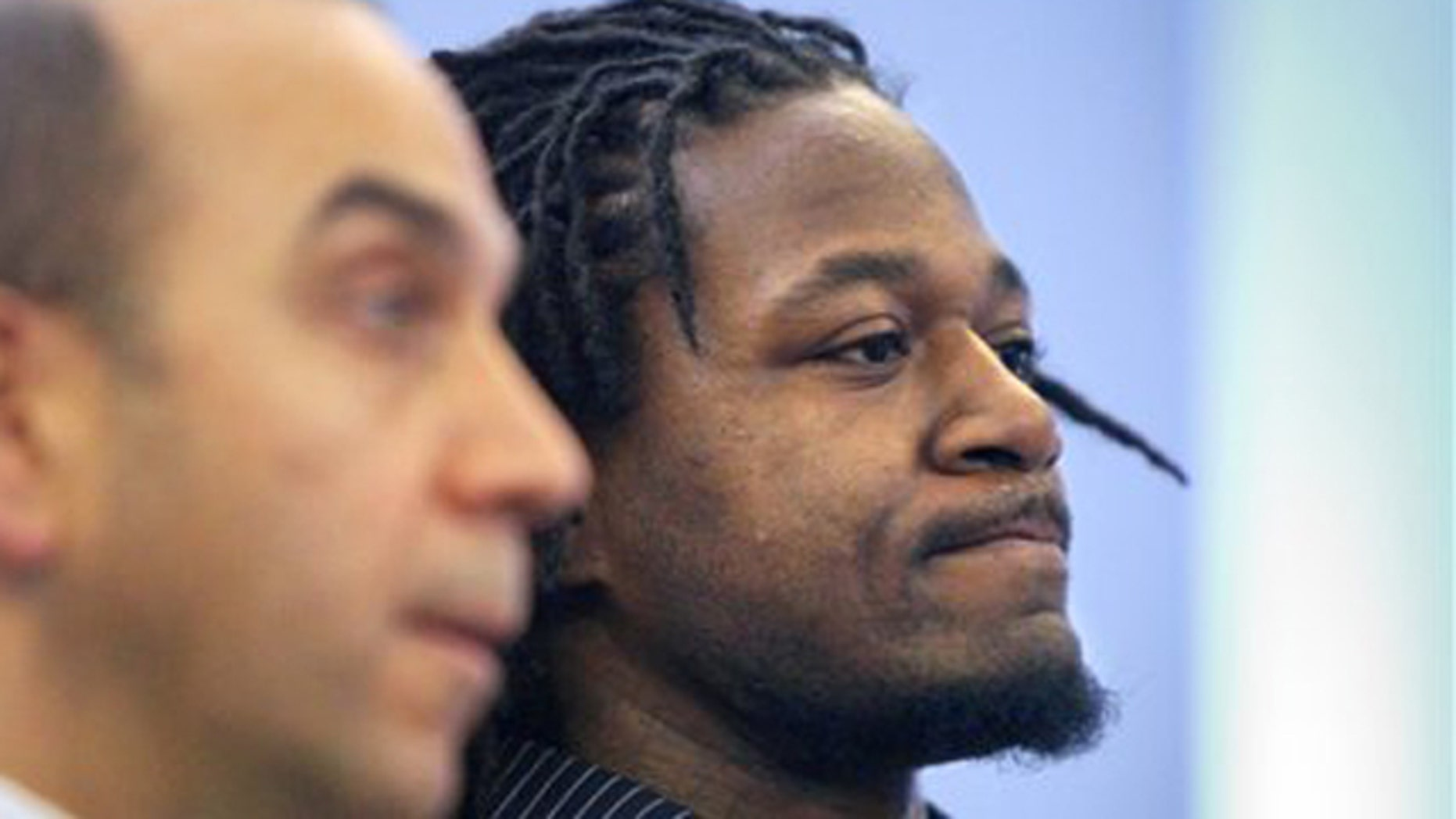 "Jan. 18, 2012: Cincinnati Bengals cornerback Adam ""Pacman"" Jones, right, appears in Hamilton County Municipal Court in Cincinnati with his lawyer, Ed Perry."