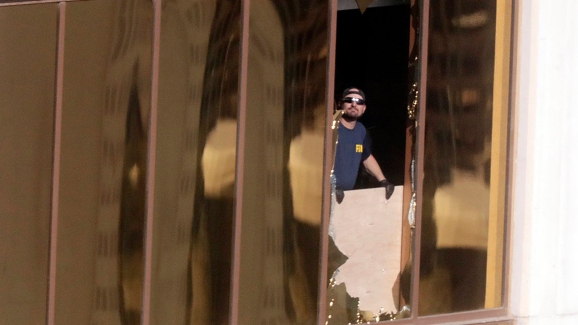 Stephen Paddock broke the windows in his suite in order to use the room as a firing perch.