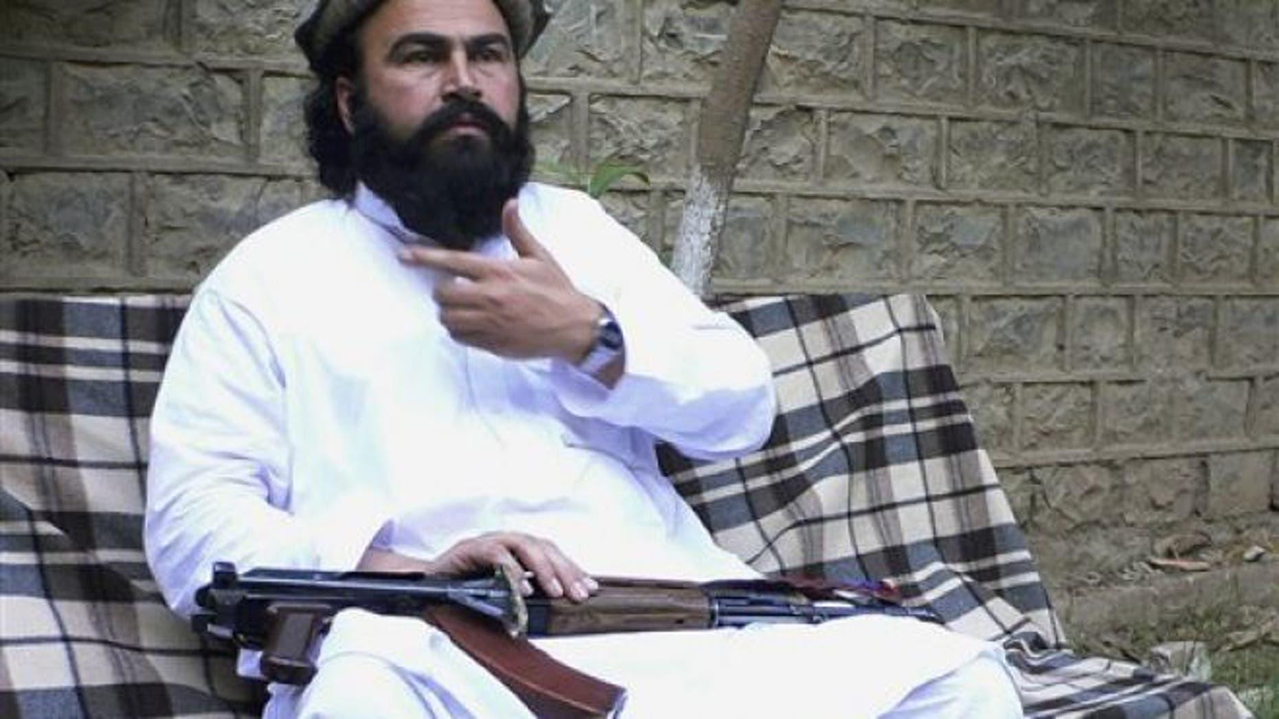May 16, 2011: The deputy commander of the Pakistani Taliban Waliur Rehman speaks to The Associated Press in Shaktoi, in Pakistani tribal area of South Waziristan along the Afghanistan border.