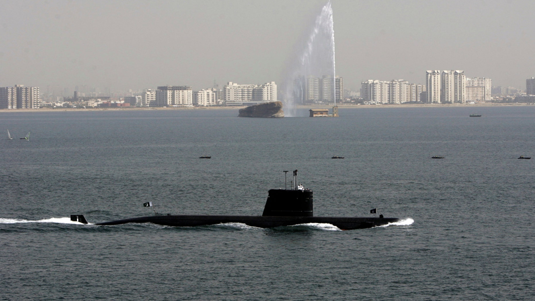 Pakistan Navy's Agosta 90-B submarine sails on the last day of a four-day defence exhibition IDEAS2006 in Karachi November 24, 2006.