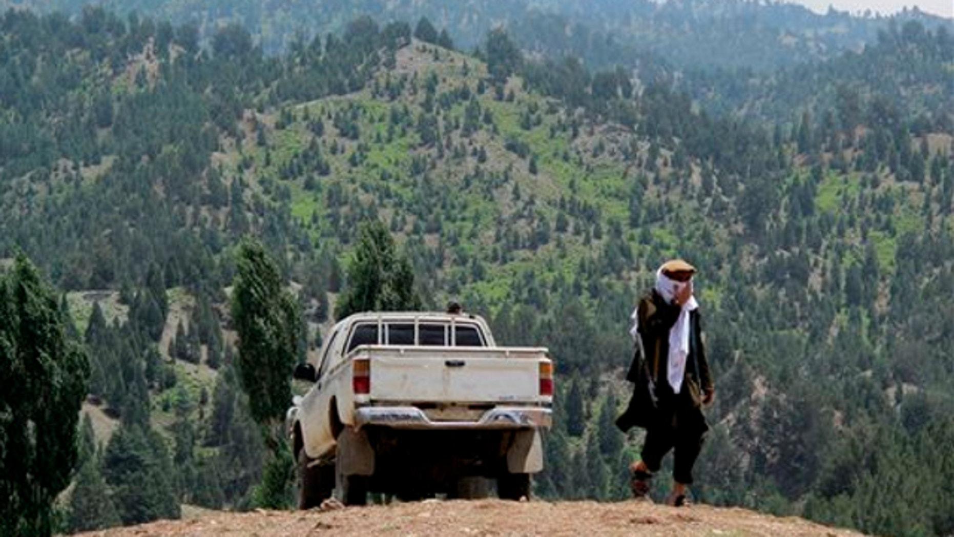 FILE: Aug. 12, 2013: A Pakistani Taliban militant walks in Shawal in Pakistani tribal region of North Waziristan.
