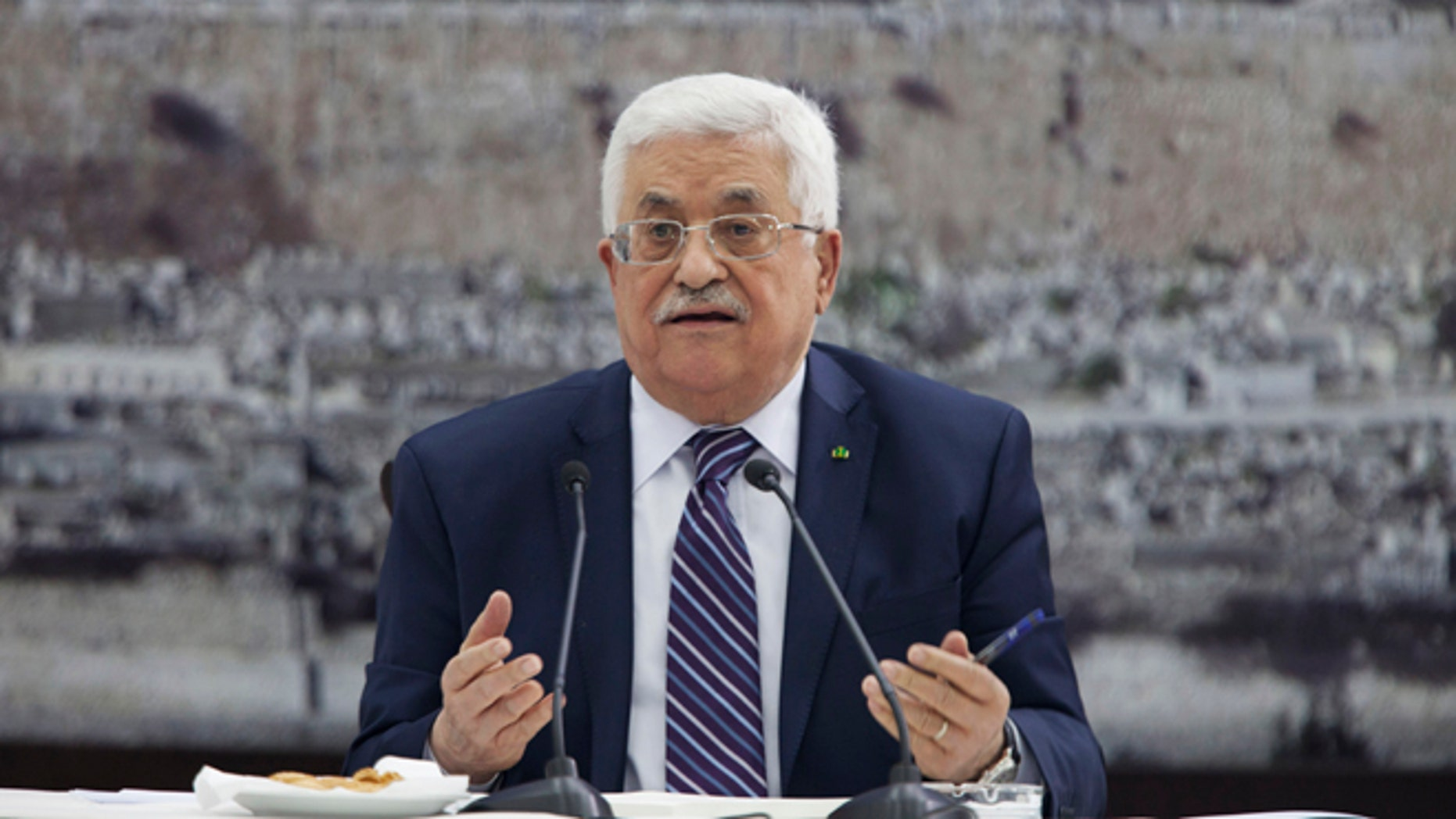 Apr.1 , 2014: Palestinian President Mahmoud Abbas talks during a leadership meeting in Ramallah.