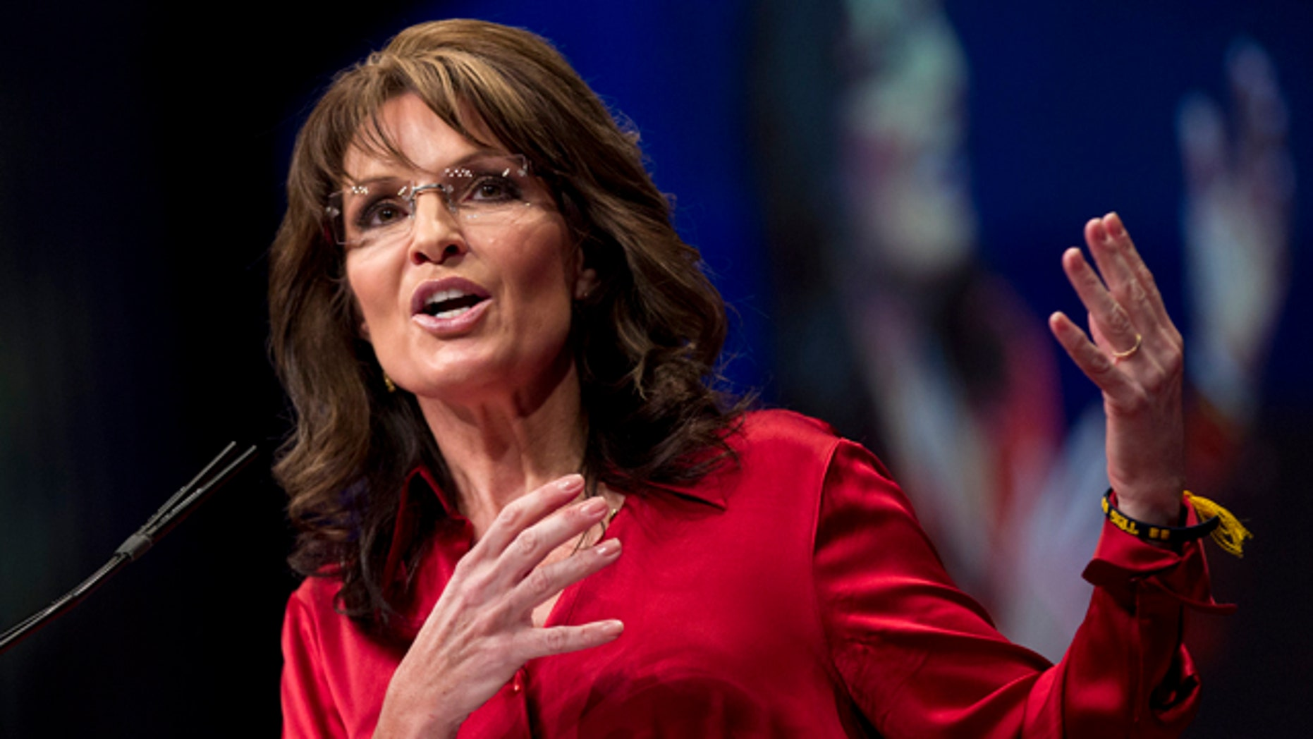 Feb. 11, 2012: Sarah Palin, the GOP candidate for vice-president in 2008, and former Alaska governor, delivers the keynote address to activists at the Conservative Political Action Conference (CPAC) in Washington.