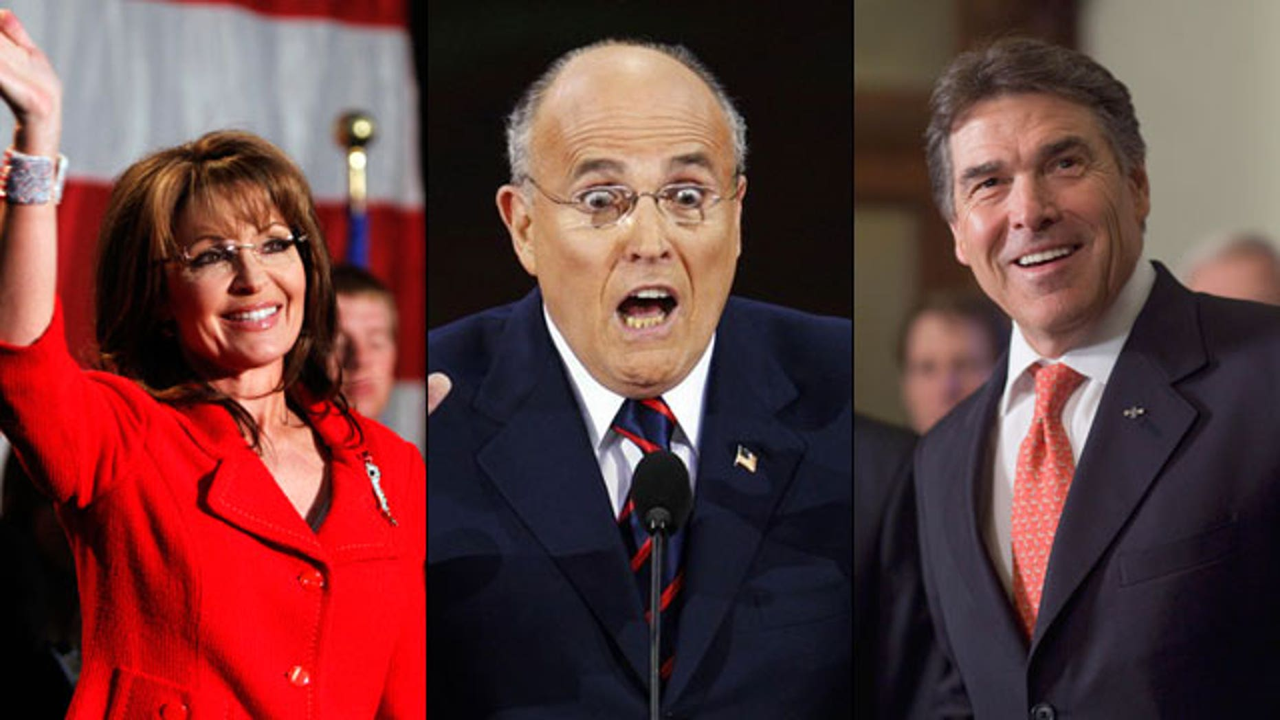 Sarah Palin, Rudy Giuliani and Rick Perry are considering jumping into the 2012 presidential race. (AP/Reuters/AP)