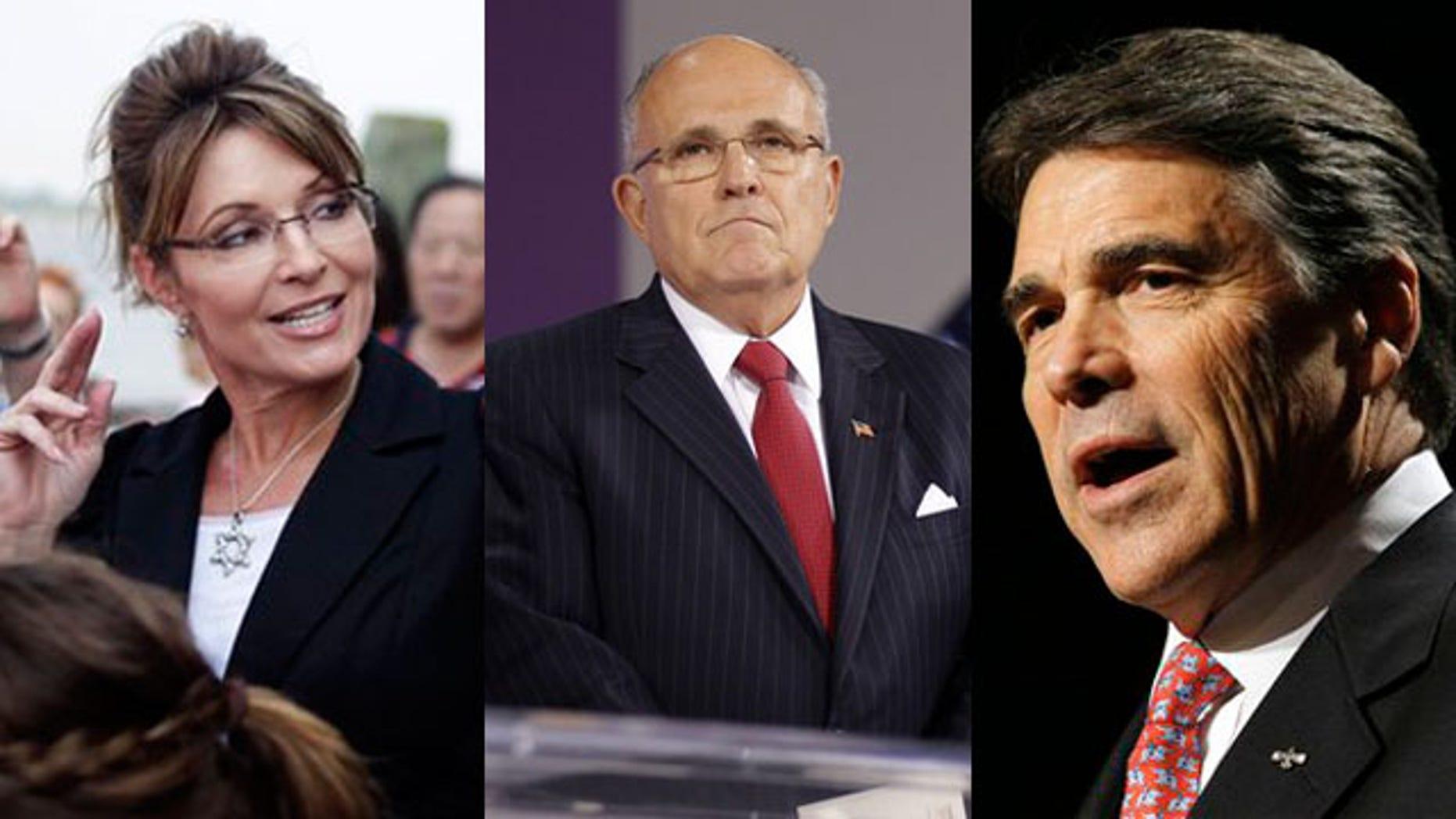 Shown here are former Alaska Gov. Sarah Palin, left, former New York City Mayor Rudy Giuliani, center, and Texas Gov. Rick Perry.