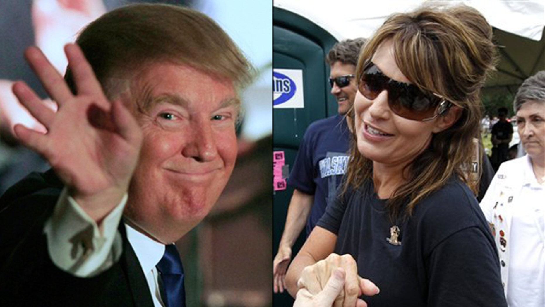 Shown here are Donald Trump, left, and former Alaska Gov. Sarah Palin.