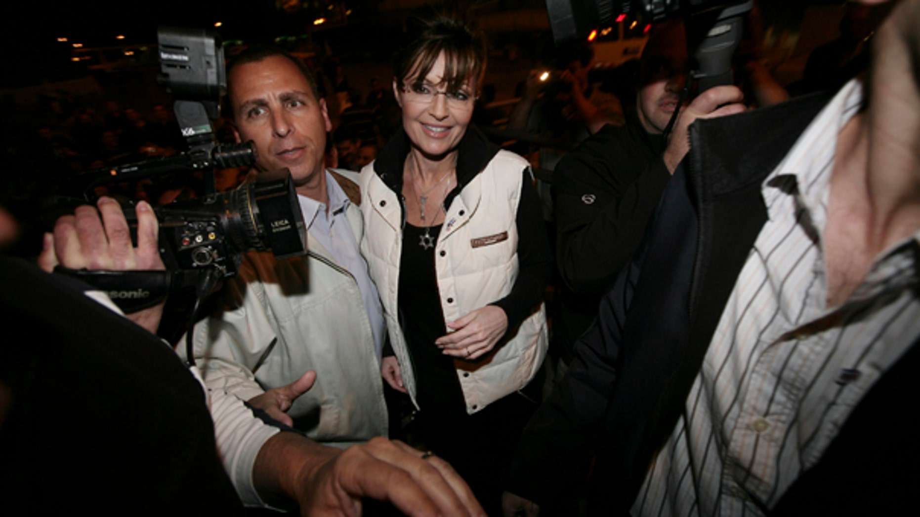 Sunday: Former Alaska Gov. Sarah Palin arrives at the Western Wall tunnels in Jerusalem's Old City.