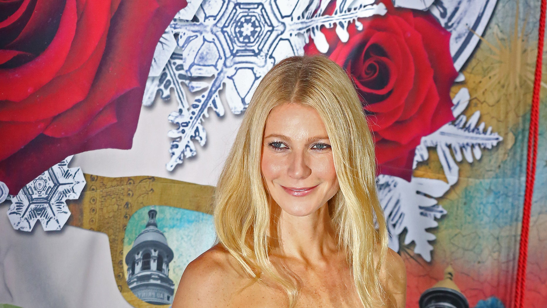Nov. 7, 2013.  Gwyneth Paltrow before unveiling a  Christmas-themed  shop window at Le Printemps department store in Paris.