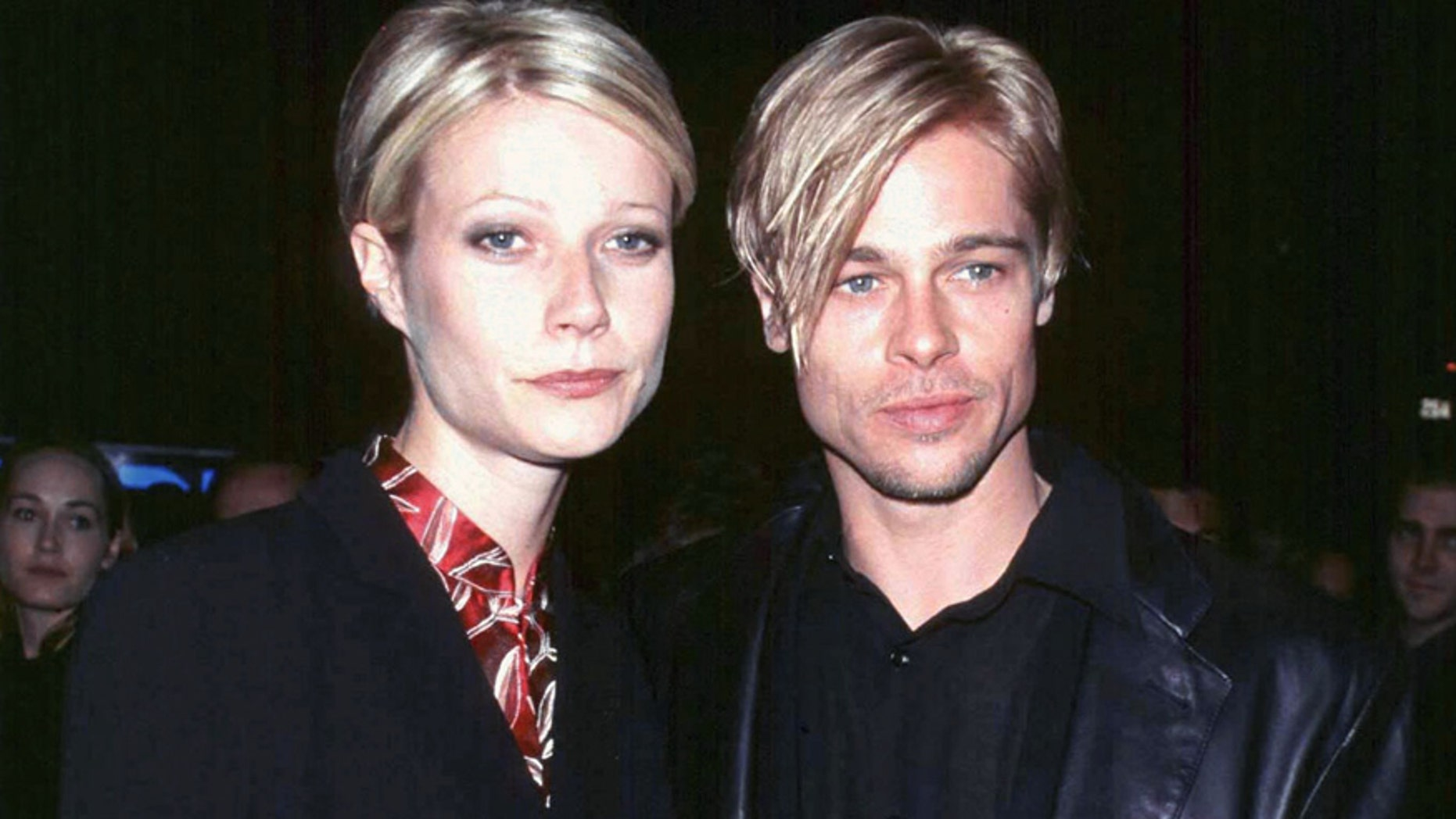 """Actor Brad Pitt and his girlfriend, actress Gwyneth Paltrow, at the New York premiere of Pitt's new film """"The Devil's Own""""  March 13. The film is a Capitol-TriStar Pictures release. ** POOR QUALITY FROM SOURCE ** - RTXHMIZ"""