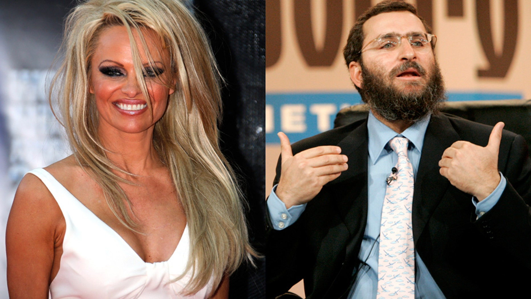 Pamela Anderson (left) and Rabbi Shmuley Boteach.