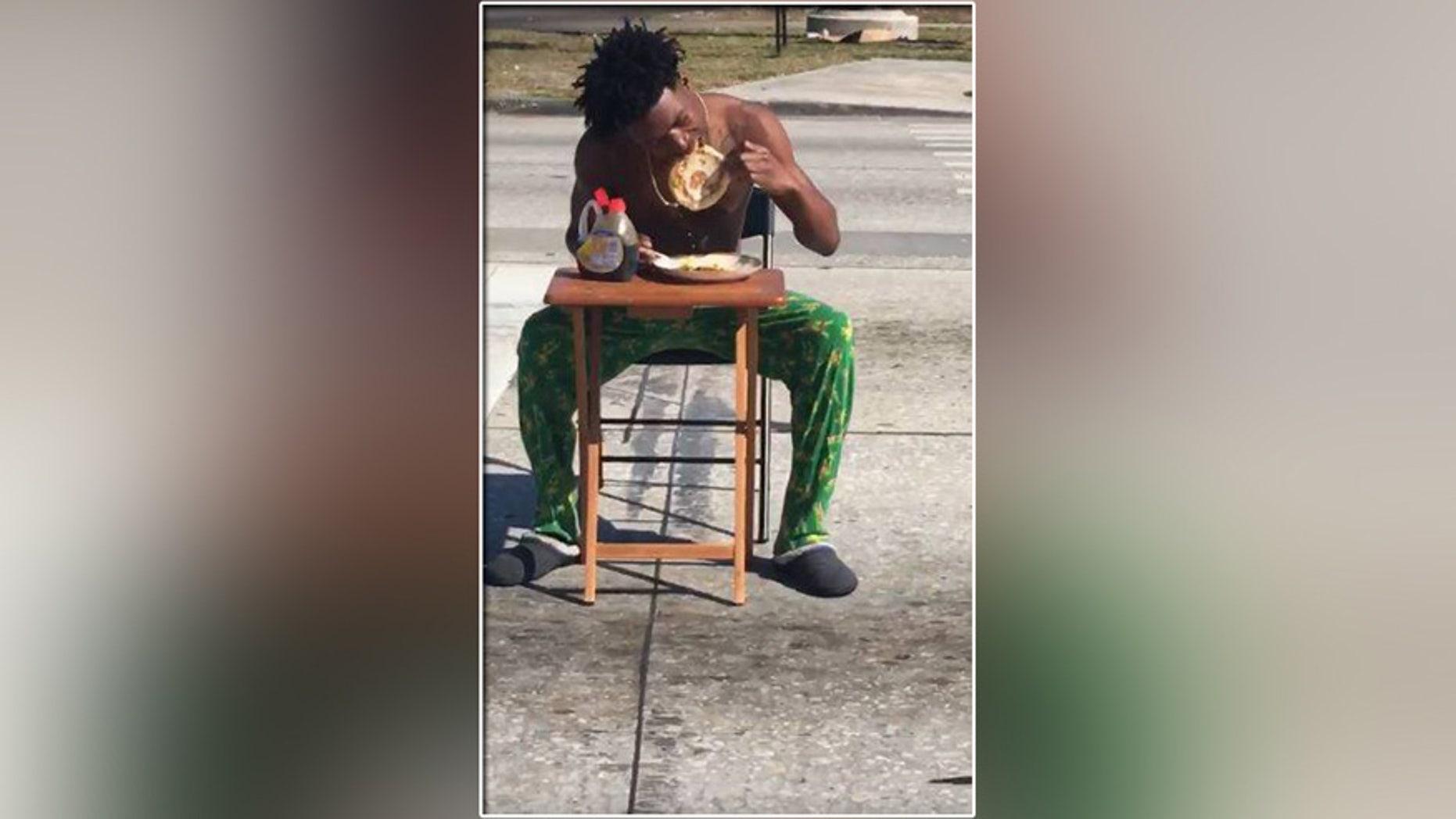 Police came down on Kiaron Thomas for enjoying his pancakes too publicly.