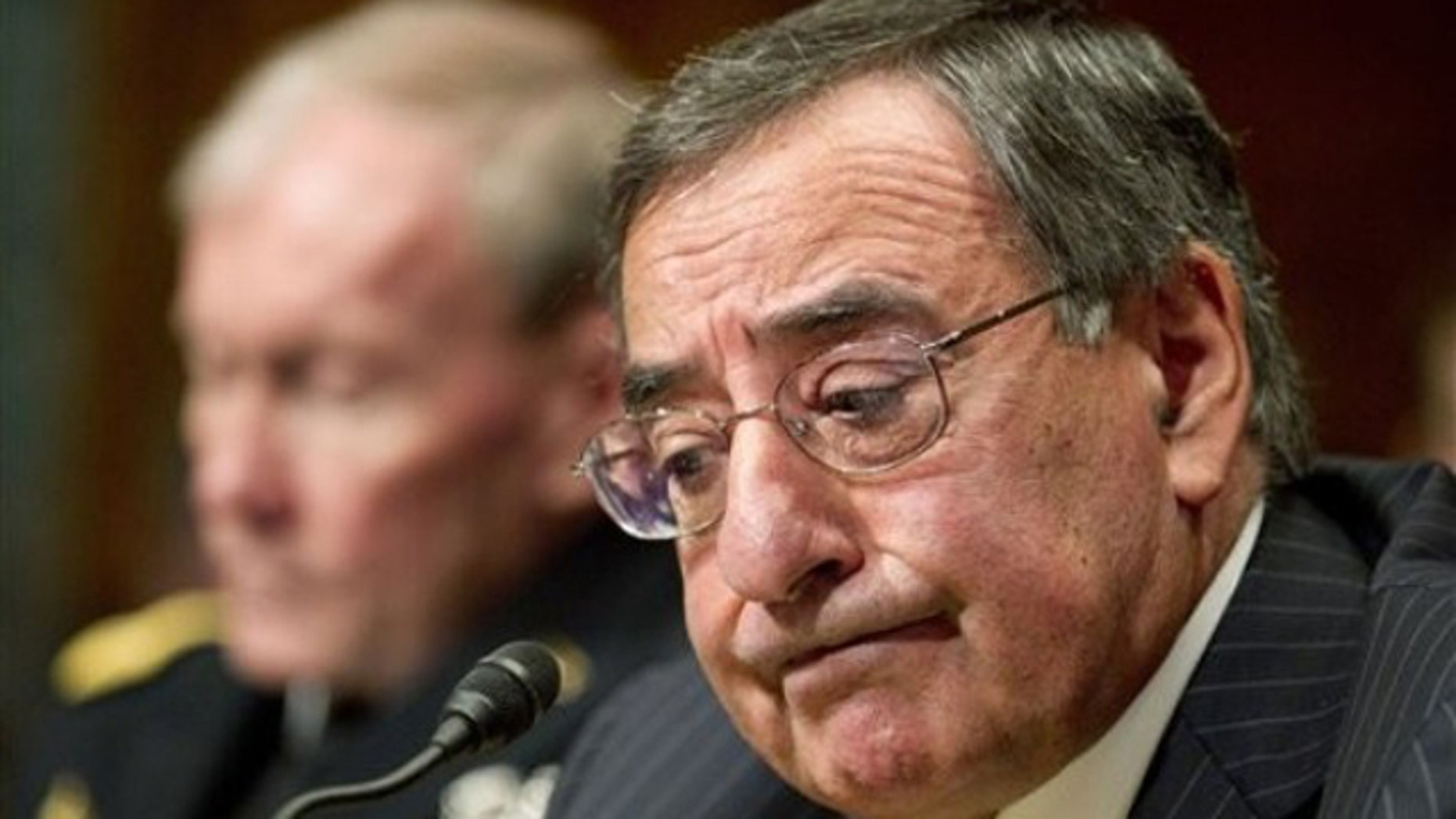 Feb. 28, 2012: Defense Secretary Leon Panetta, accompanied by Joint Chiefs Chairman Gen. Martin Dempsey, testifies on Capitol Hill before the Senate Budget Committee on the Defense Department's fiscal 2013 budget.