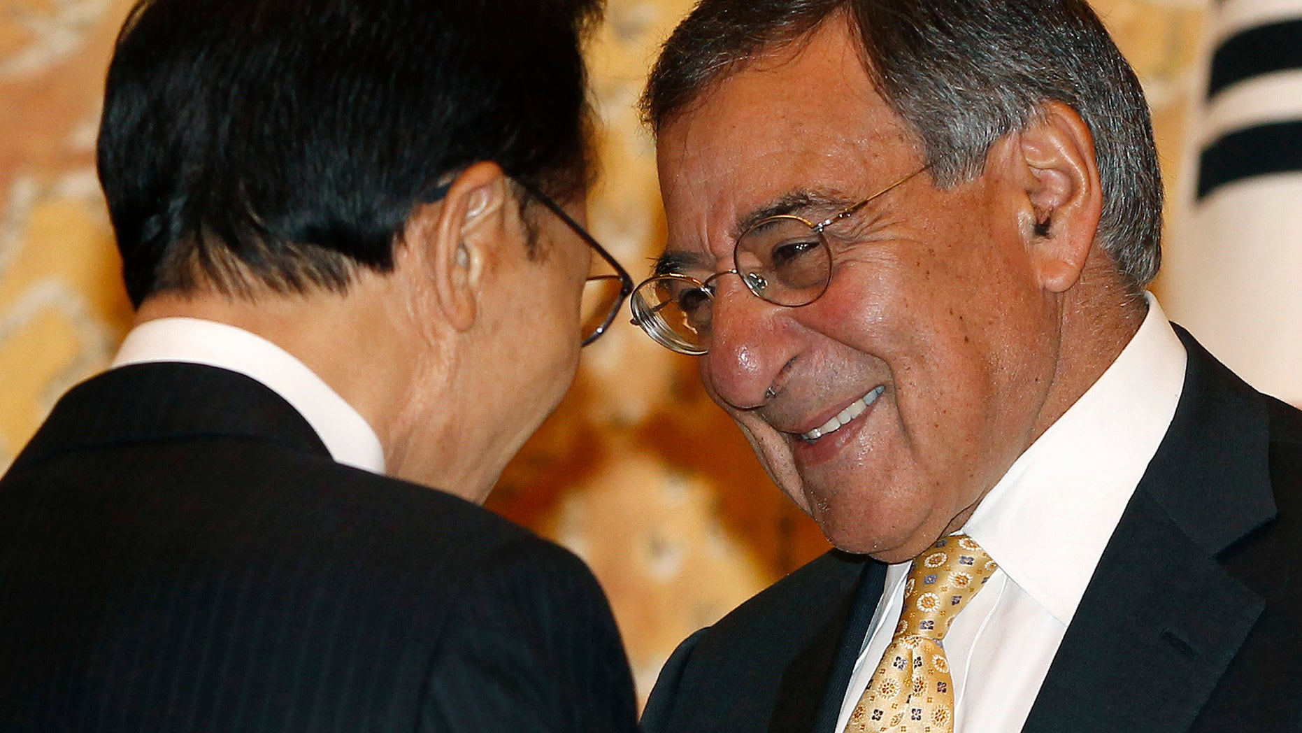 Visiting U.S. Defense Secretary Leon Panetta, right, listens to South Korean President Lee Myung-bak during their meeting at the presidential Blue House in Seoul Thursday, Oct. 27, 2011