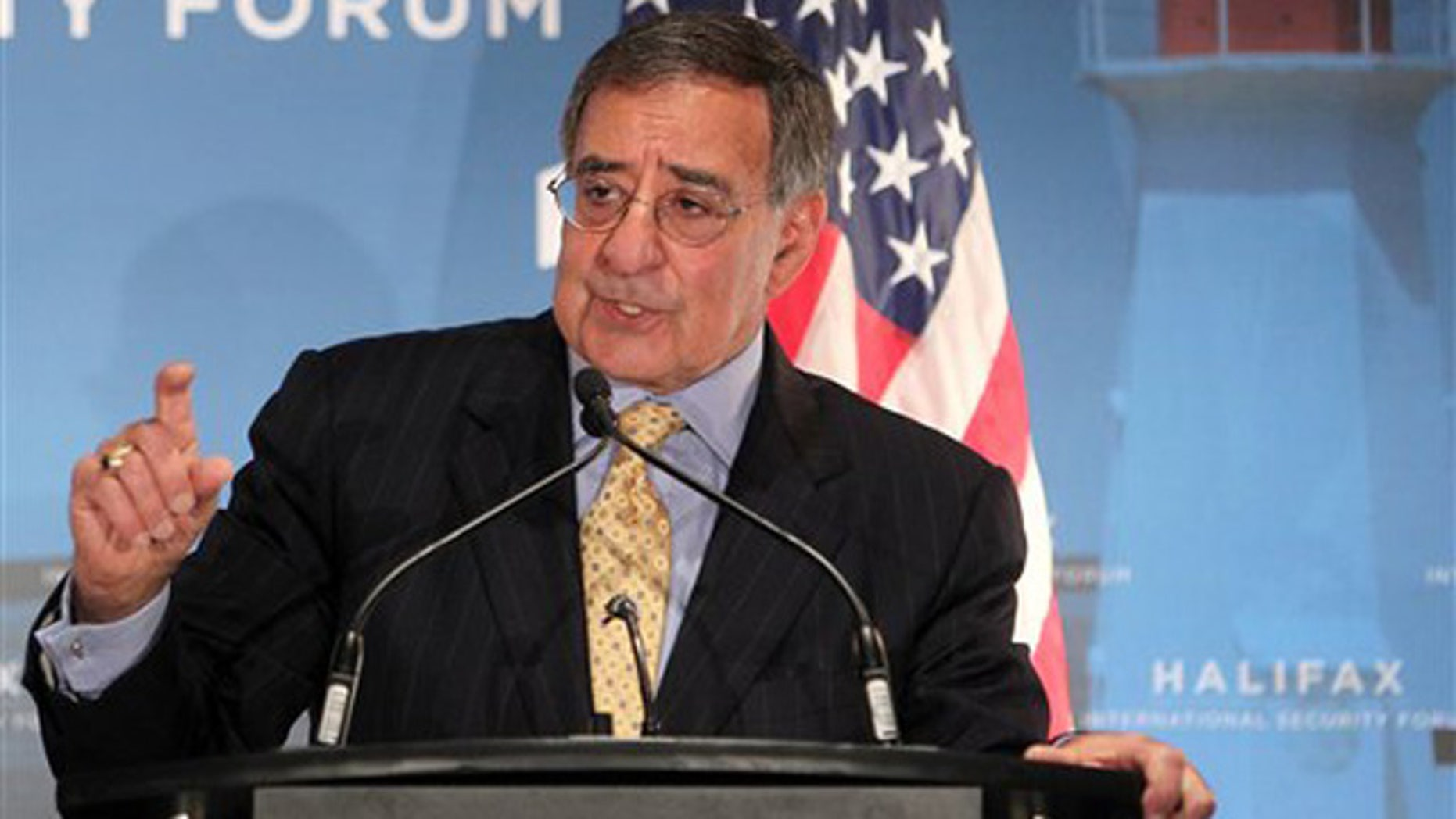 Nov. 18, 2011: Secretary of Defense Leon Panetta gestures while speaking during the opening news conference at the 2011 Halifax International Security Forum in Halifax, Nova Scotia, Canada.