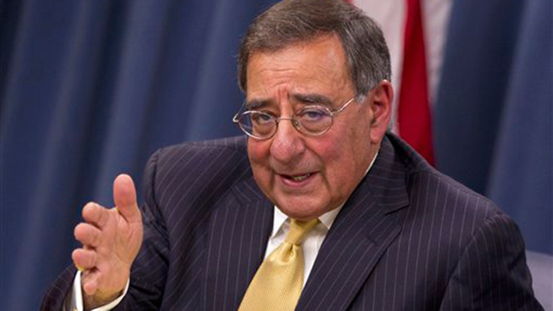 Nov. 10, 2011: Defense Secretary Leon Panetta gestures during a news conference at the Pentagon.