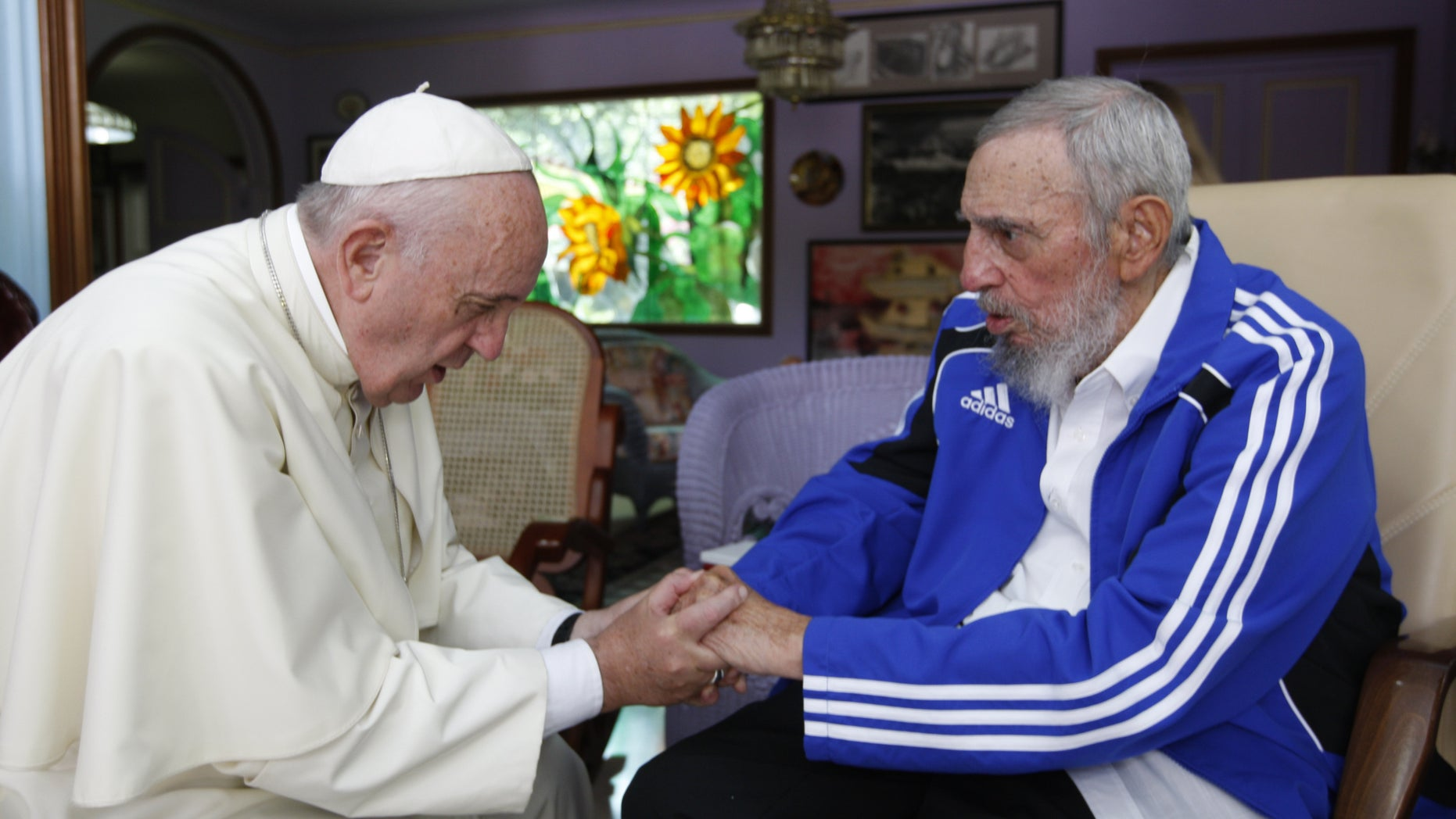 In this Sunday, Sept. 20, 2015 file photo, Pope Francis meets Fidel Castro in Havana, Cuba.