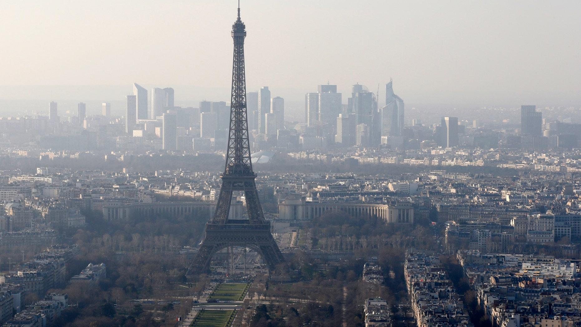 March 10, 2014: A general view of the Eiffel tower and La Defense business district skyline in the background as warm and sunny weather continues in France.