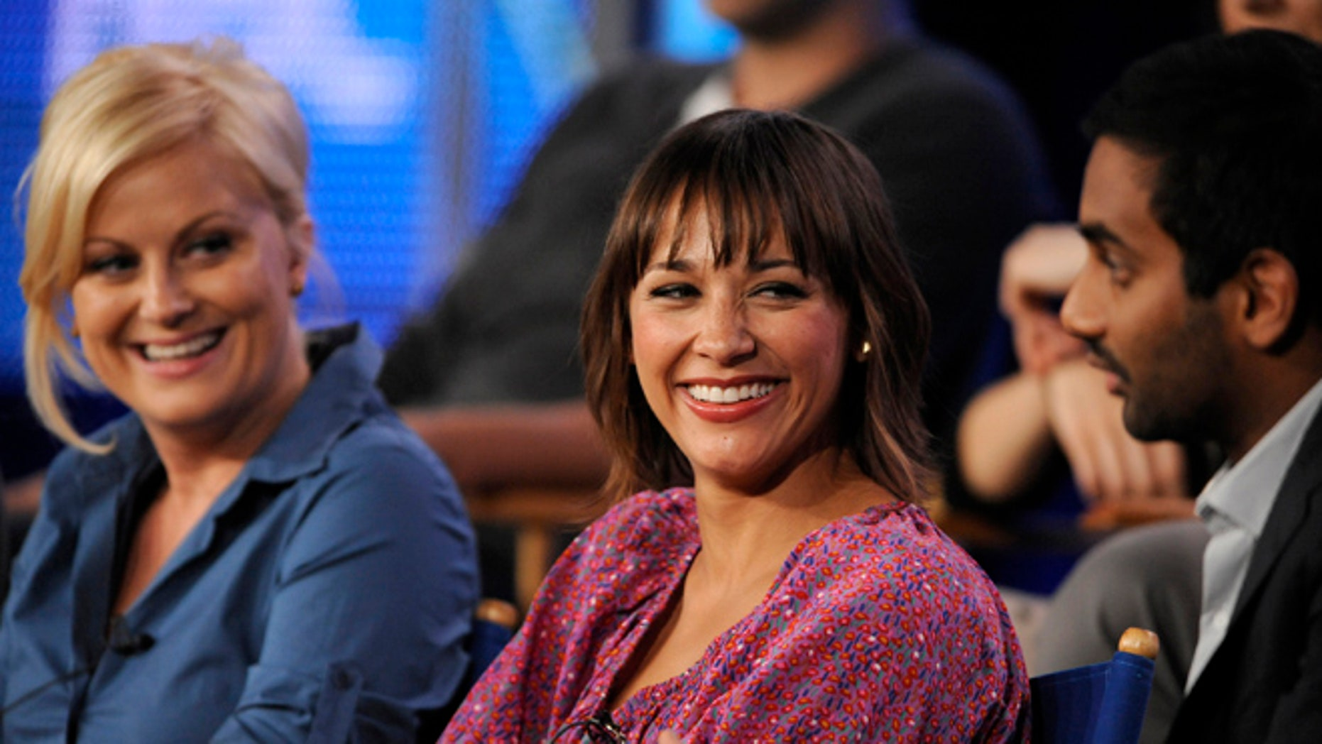 """Amy Poehler, Rashida Jones and Aziz Ansari from """"Parks and Recreation."""" Cast member Natalie Morales just came out as 'queer.'"""