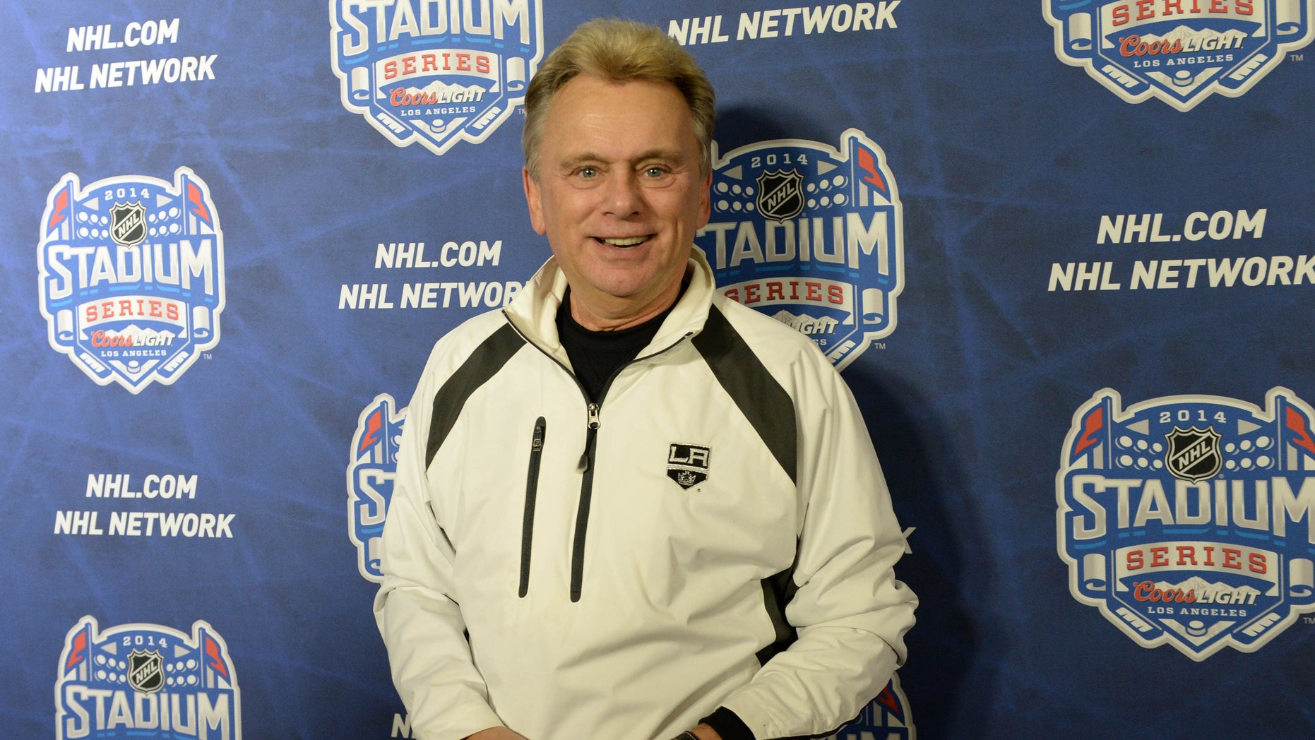 Jan 25, 2014.  Pat Sajak arrives on the red carpet for the Stadium Series hockey game between the Anaheim Ducks and the Los Angeles Kings at Dodger Stadium.
