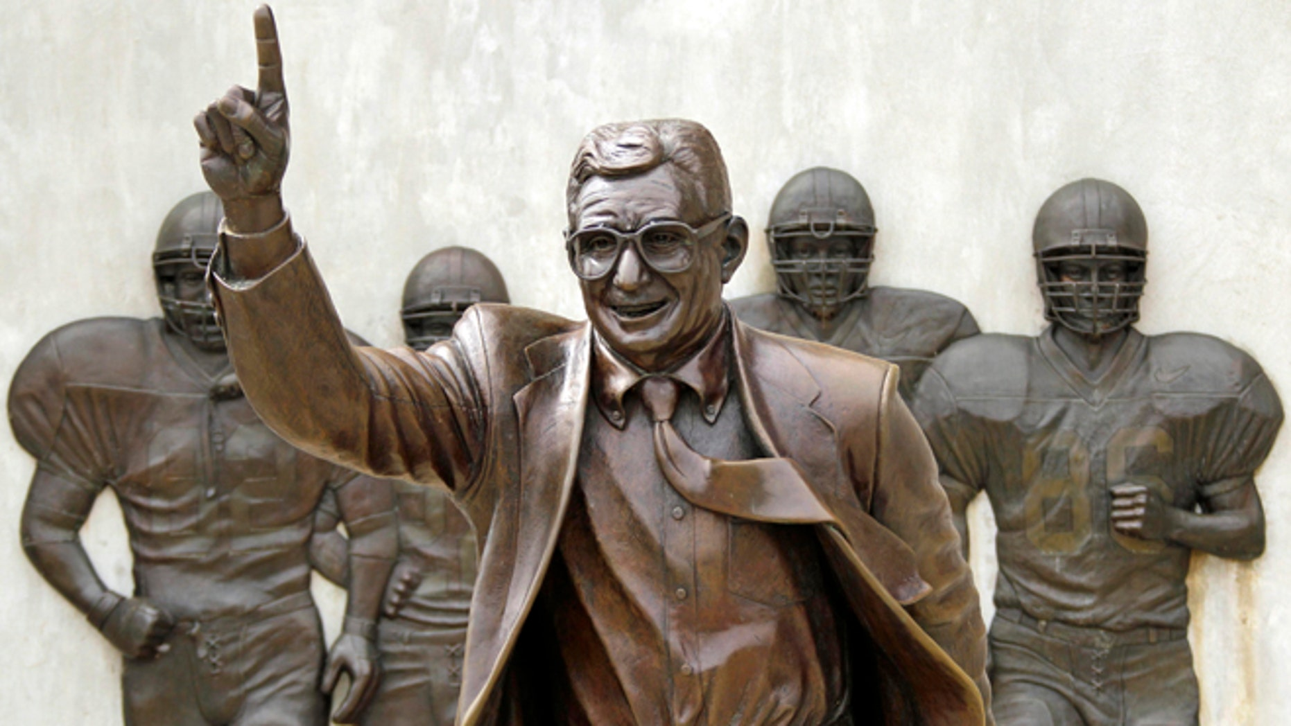 FILE - The statue of former Penn State University head football coach Joe Paterno stands outside Beaver Stadium in State College, Pa., in this July 13, 2012 file photo.