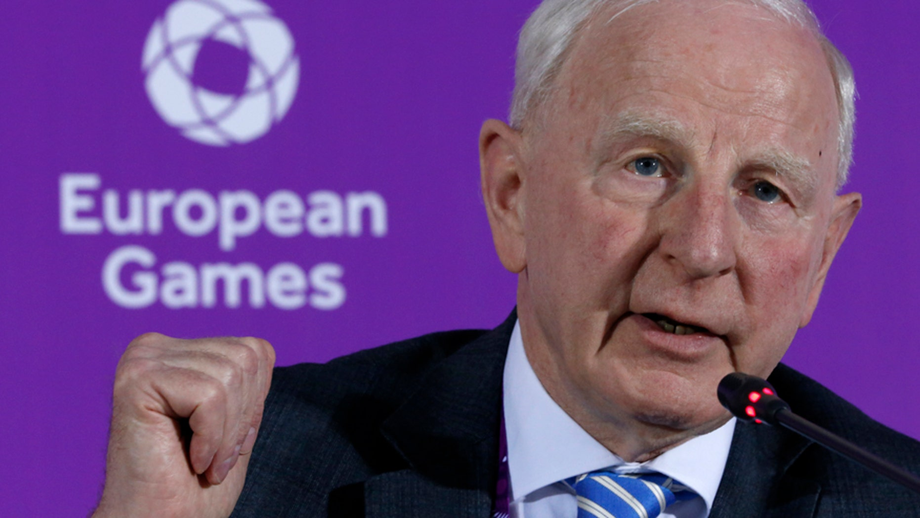 June 11, 2015: Patrick Hickey, the head of the European Olympic Committee speaks during a news conference on the eve of the opening of the 2015 European Games in Baku, Azerbaijan. Rio de Janeiro authorities have issued an arrest warrant for Hickey accused of scalping tickets for the Summer Games.