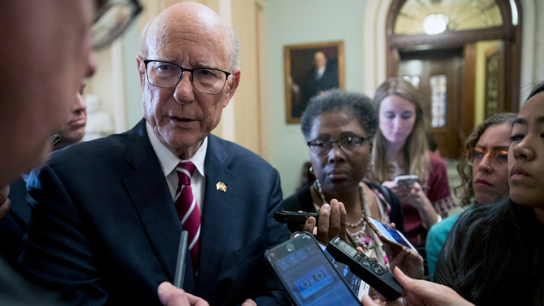 Senate Agriculture Committee chairman Pat Roberts, R-Kan., talks to reporters on Capitol Hill Tuesday.