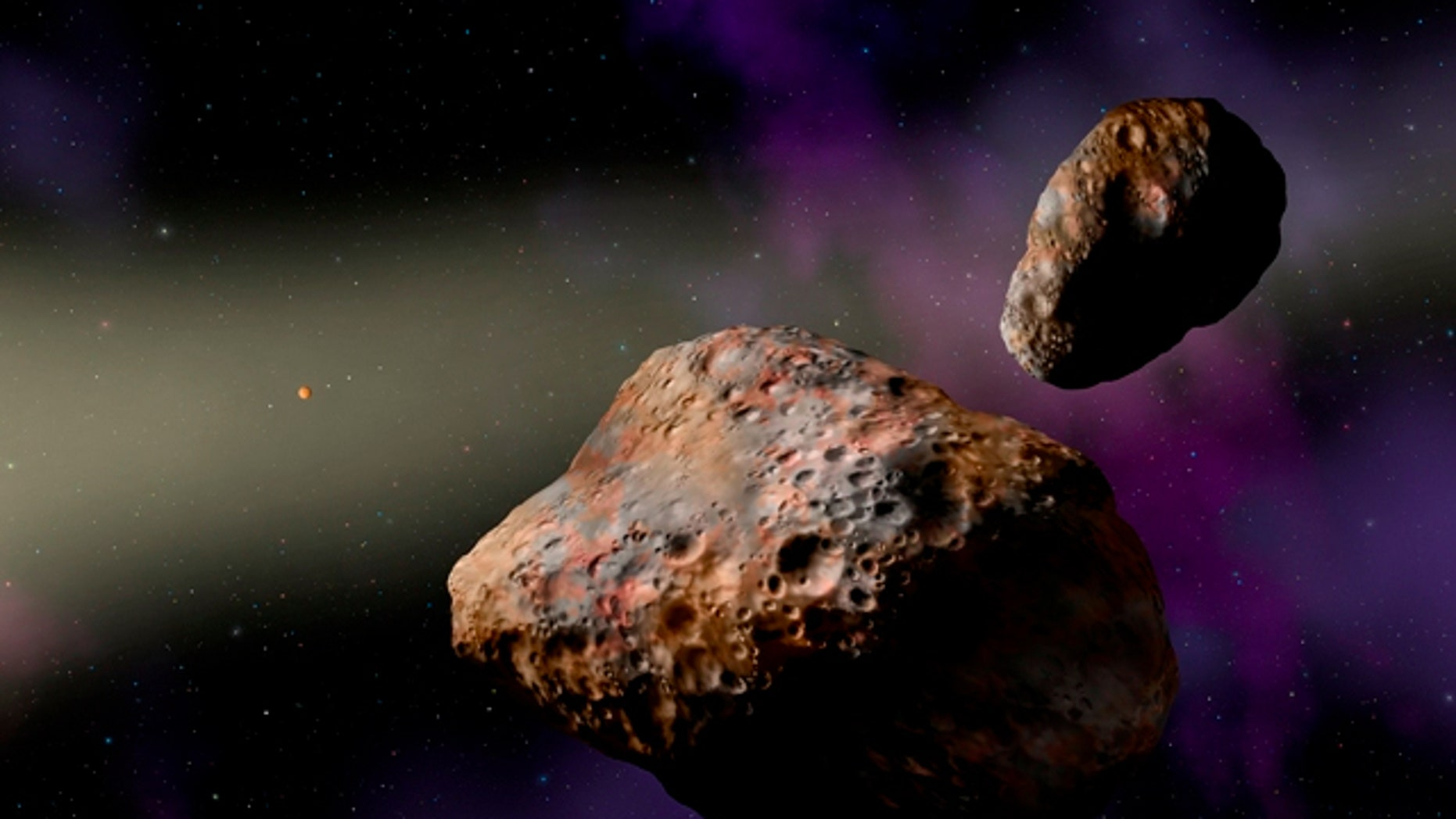 An artist's depiction of the binary asteroid Patroclus-Menoetius.