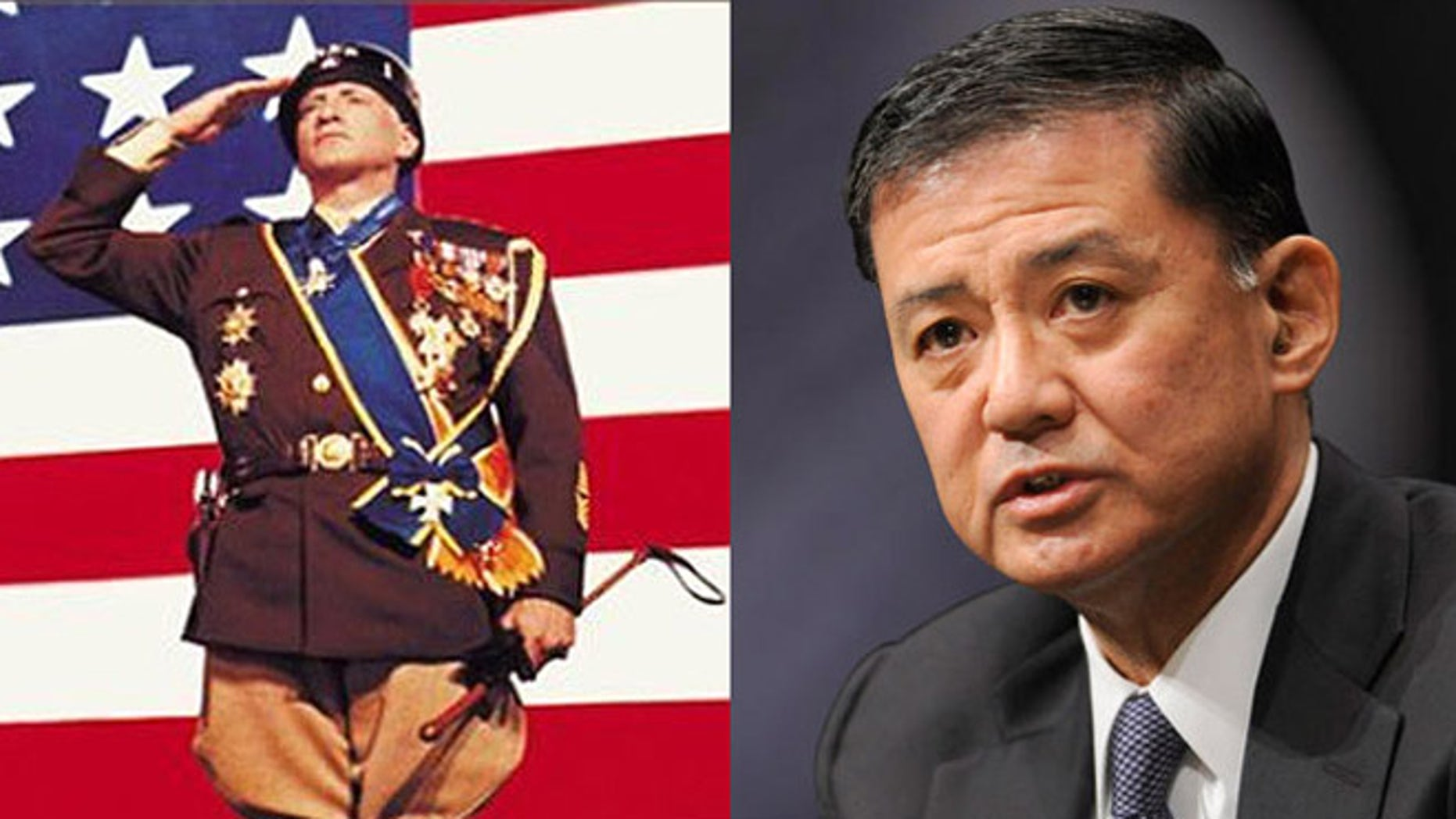 """Secretary Eric Shinseki's Veterans Affairs Department is under fire for $5 million spent on two conferences, featuring a pricey parody of the movie """"Patton."""""""