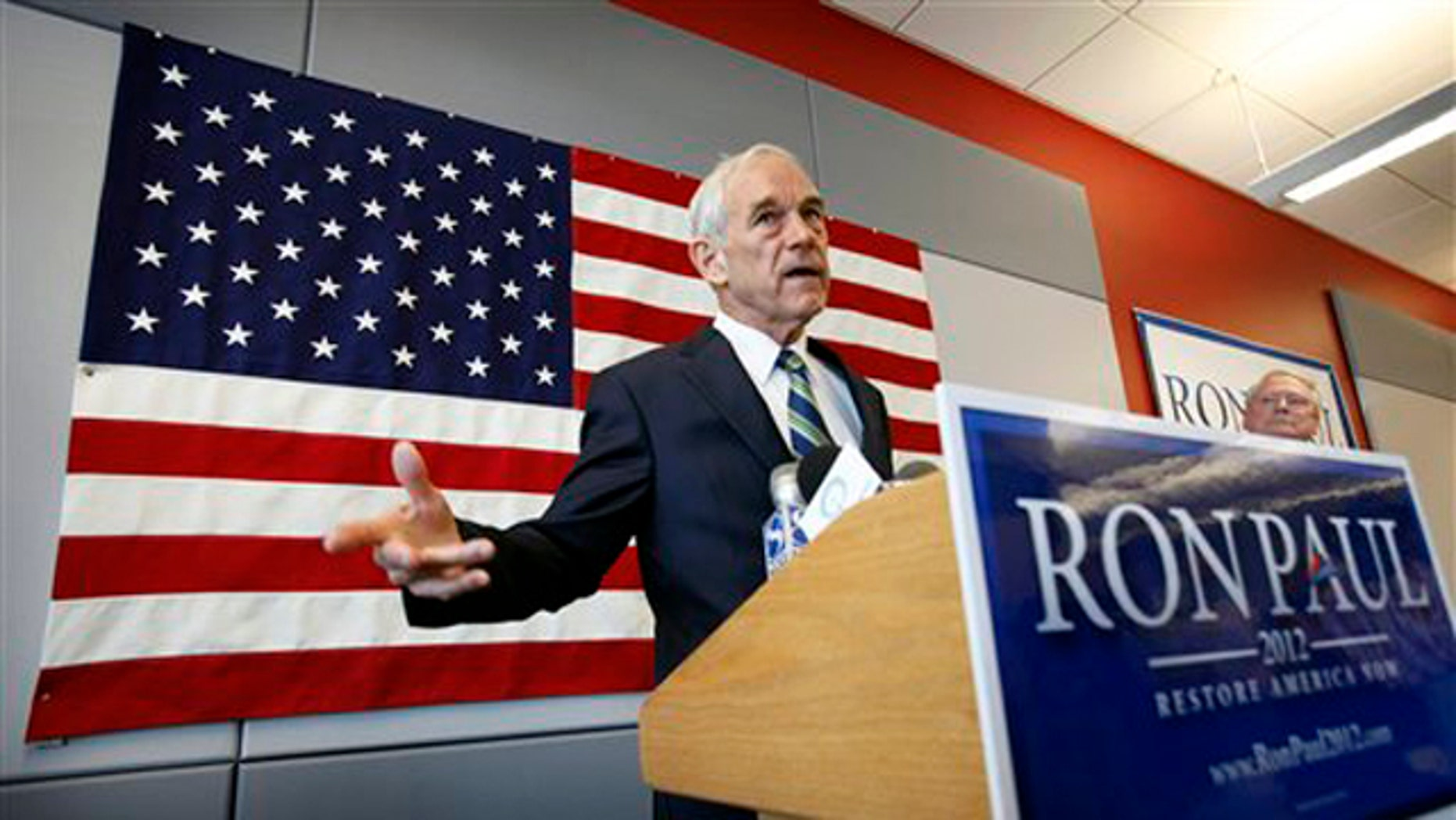 Rep. Ron Paul speaks during a news conference at his newly opened Iowa campaign office May 10 in Ankeny, Iowa.