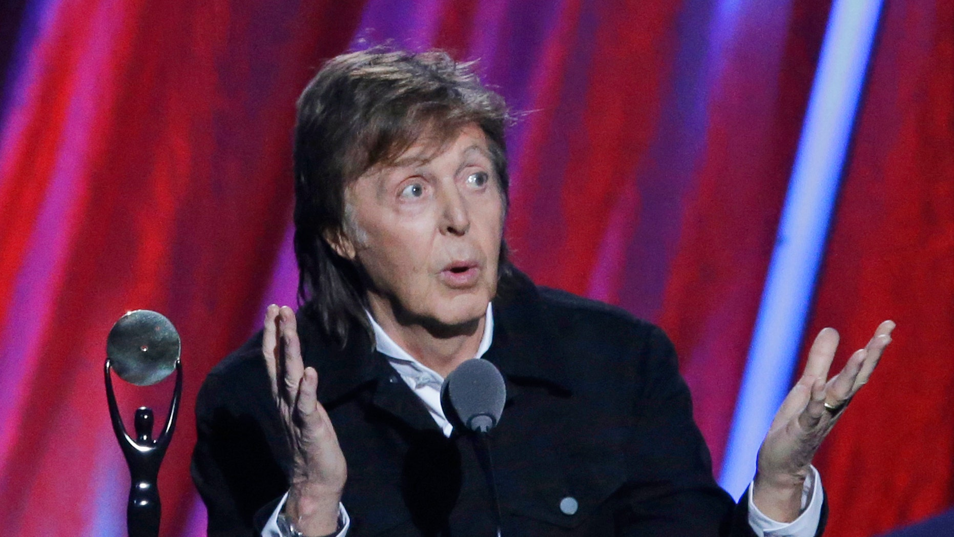 April 19, 2015. Paul McCartney introduces Ringo Starr at the Rock and Roll Hall of Fame induction ceremonies,  in Cleveland, Ohio.