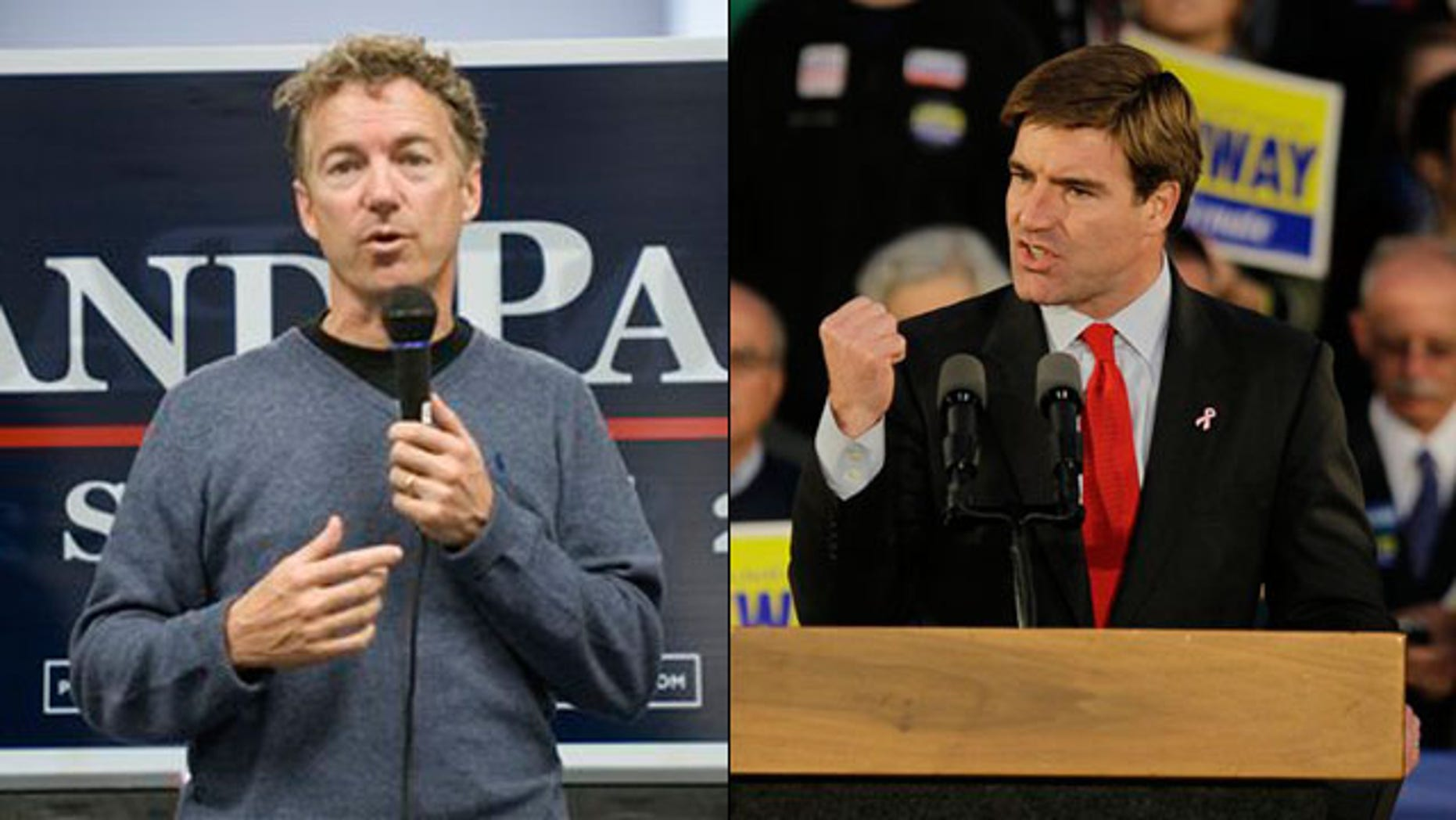 Shown here are Kentucky Republican Senate nominee Rand Paul, left, and Democratic nominee Jack Conway. (AP Photos)