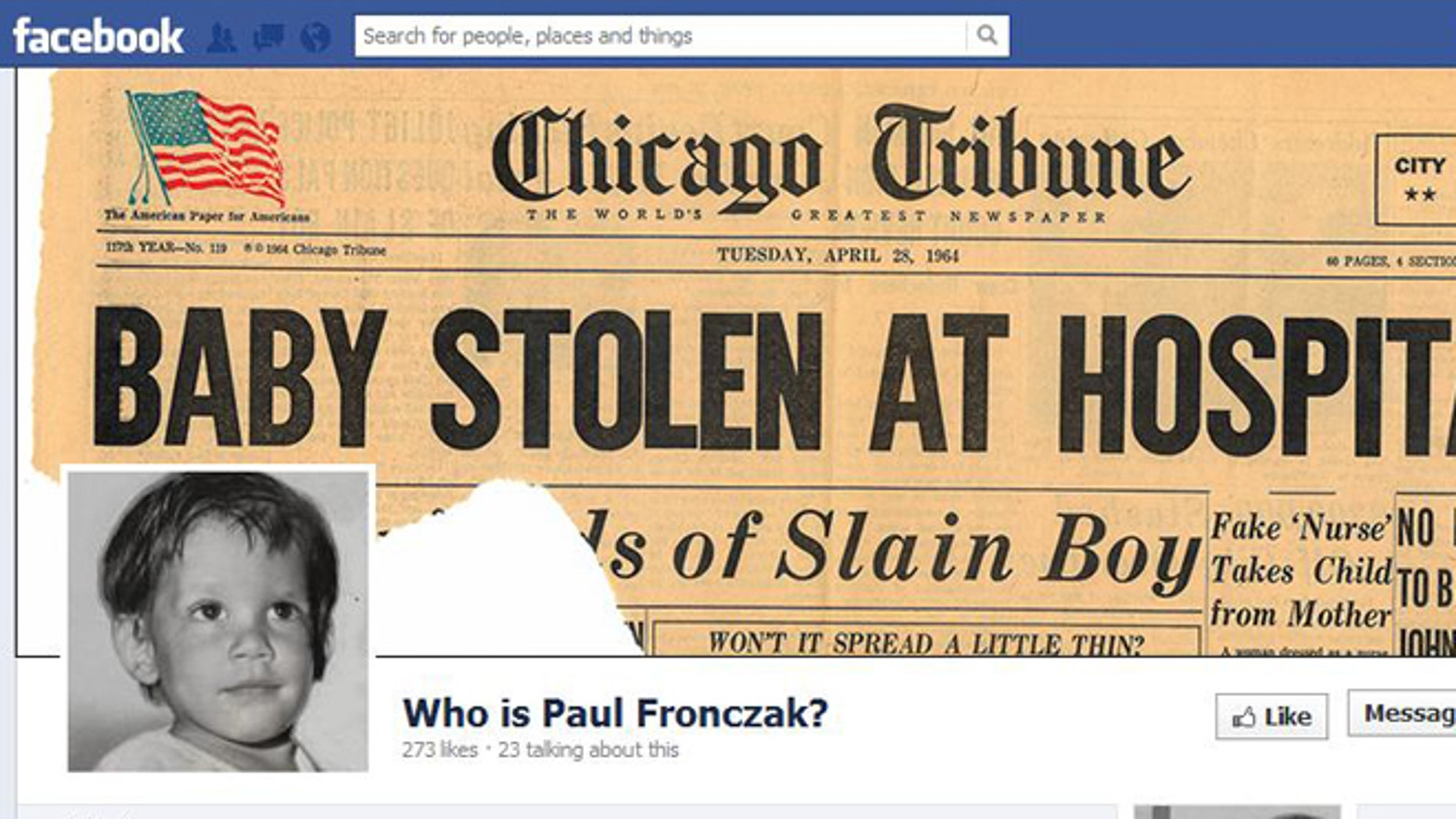 A Facebook page assisting in the identification of Paul Fronczak.